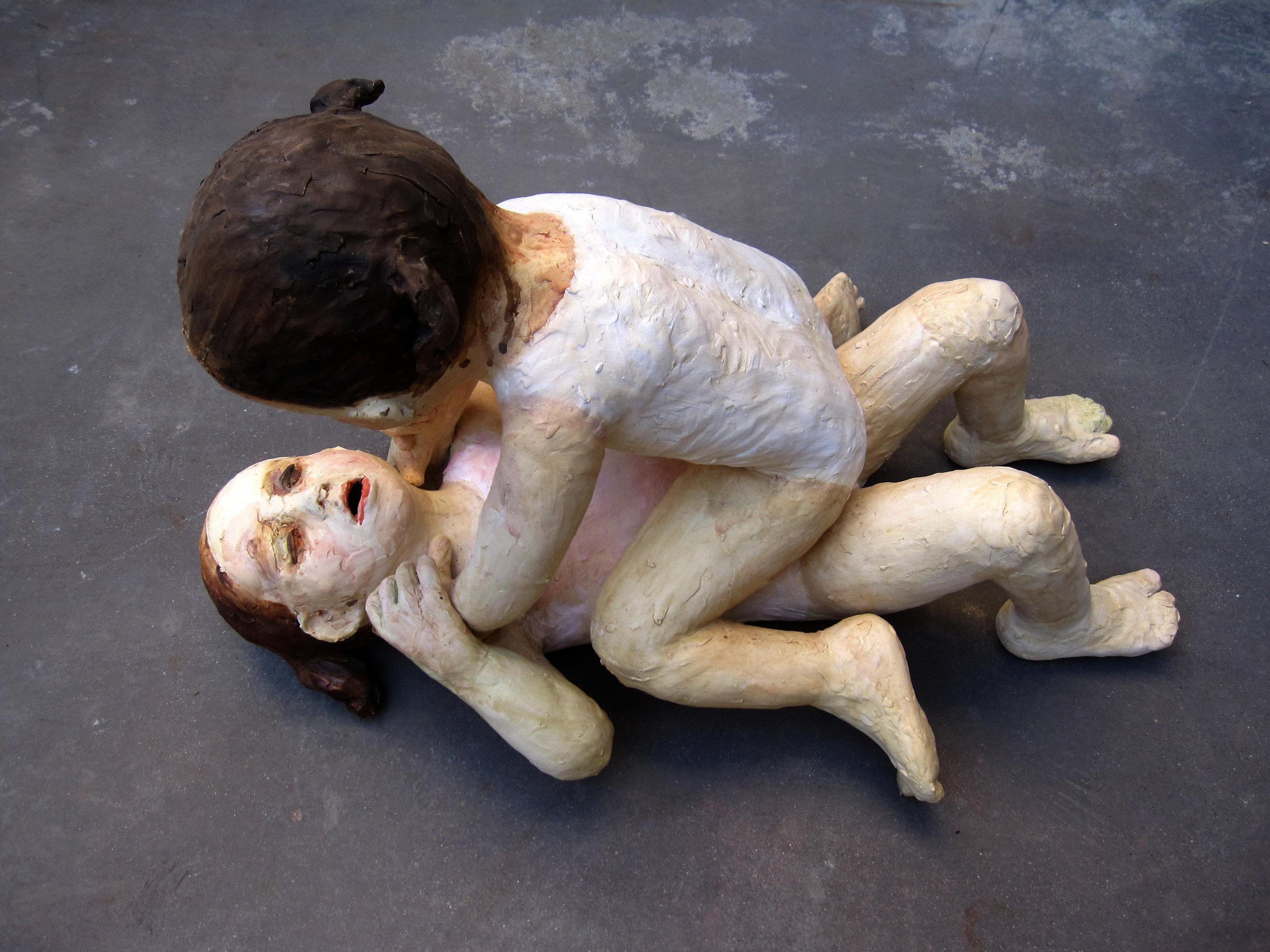 Girls Fighting I, 2011, Glazed ceramic, 20 X 22 X 33 in.