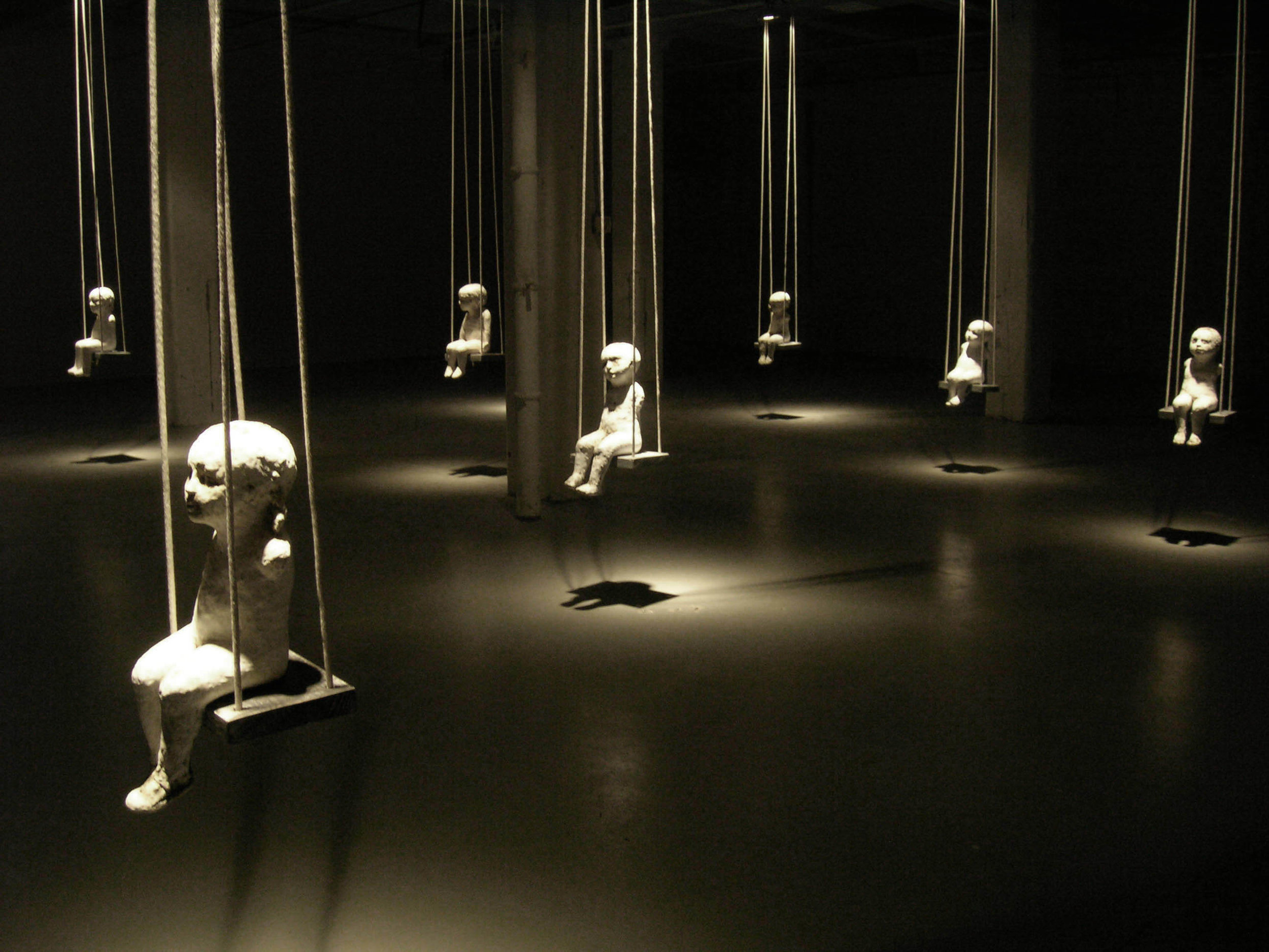 Falling Rope of Silence, 2005, Ceramic, rope, wood, Installation view, 14 x 40 x 50 ft.  Bemis Center for Contemporary Art, Omaha, Nebraska