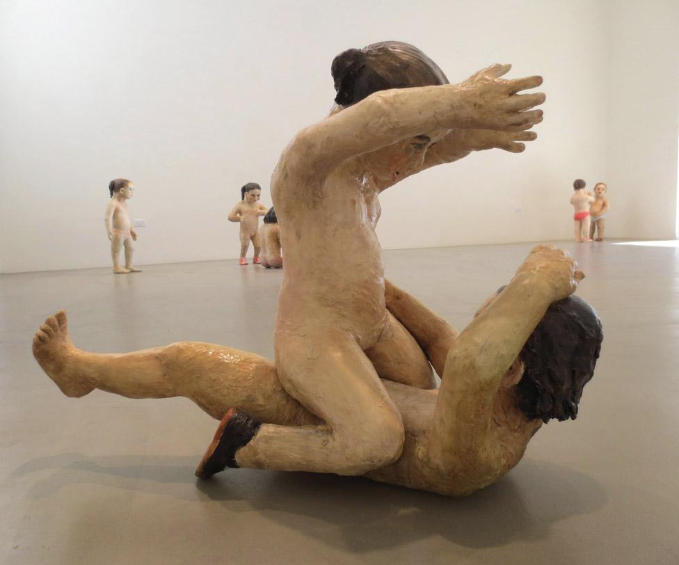 Girls Fighting, 2012, Oil over underglaze on ceramic, 27 X 36 X 19 in. Scott White Contemporary Art, California