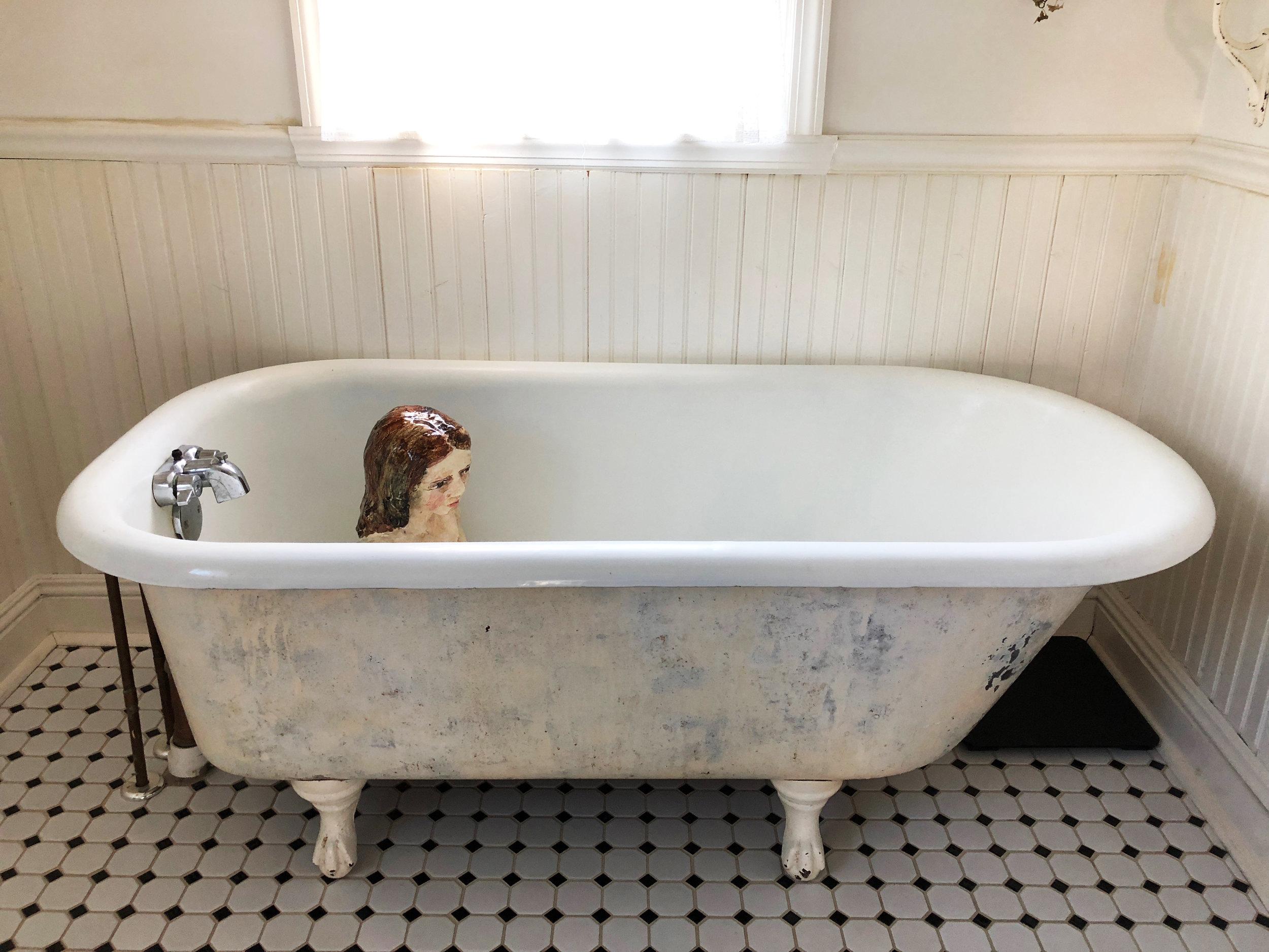 Wading (girl in bathtub), 2017, Glazed ceramic, 18 x 13 1/2 x 17 1/2 in.