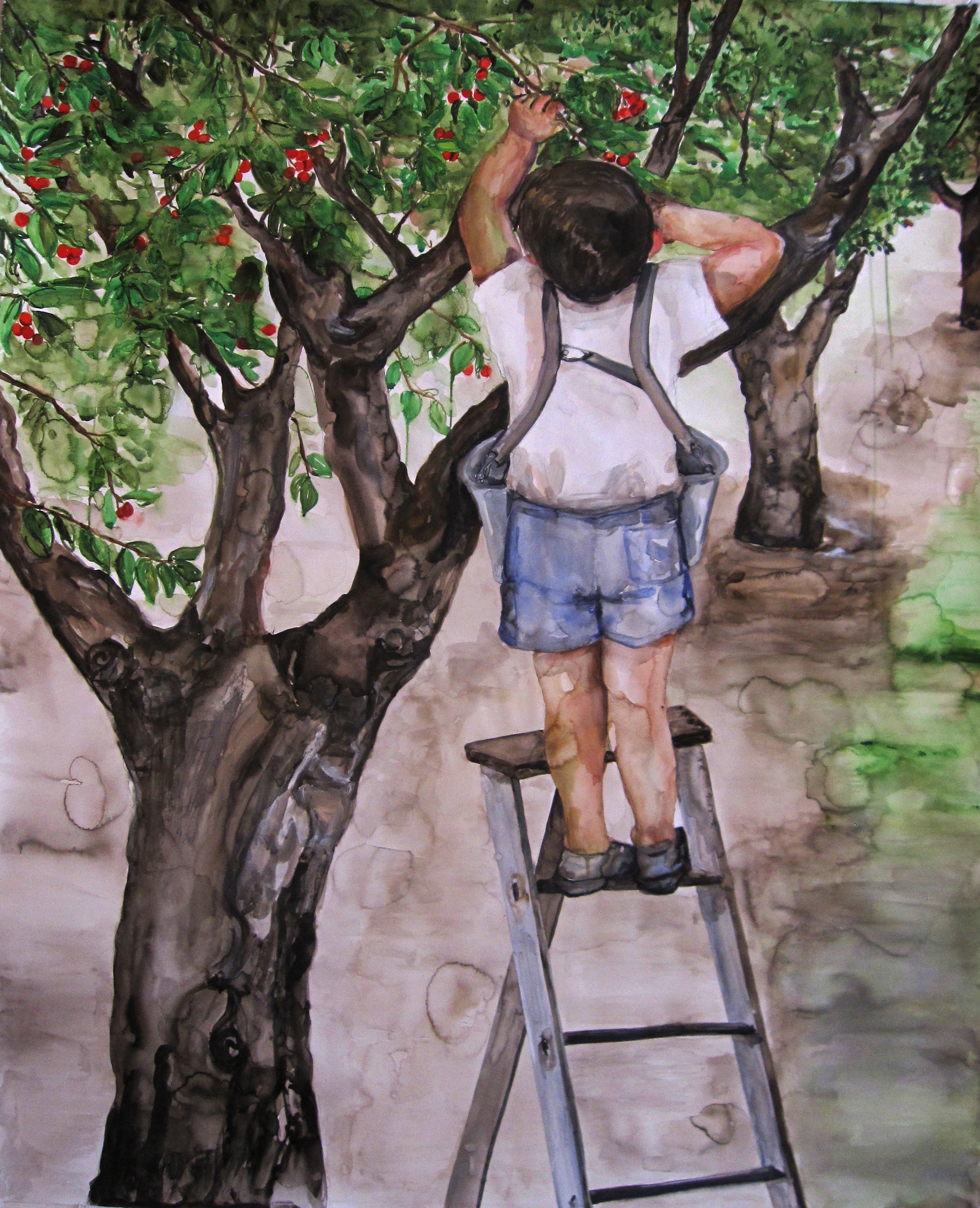Cherry Picker, 2015, Watercolor on paper, 65 x 52 in.