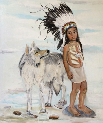 Little Chief with Wolf, 2015, Oil on canvas, 56 x 48 in.