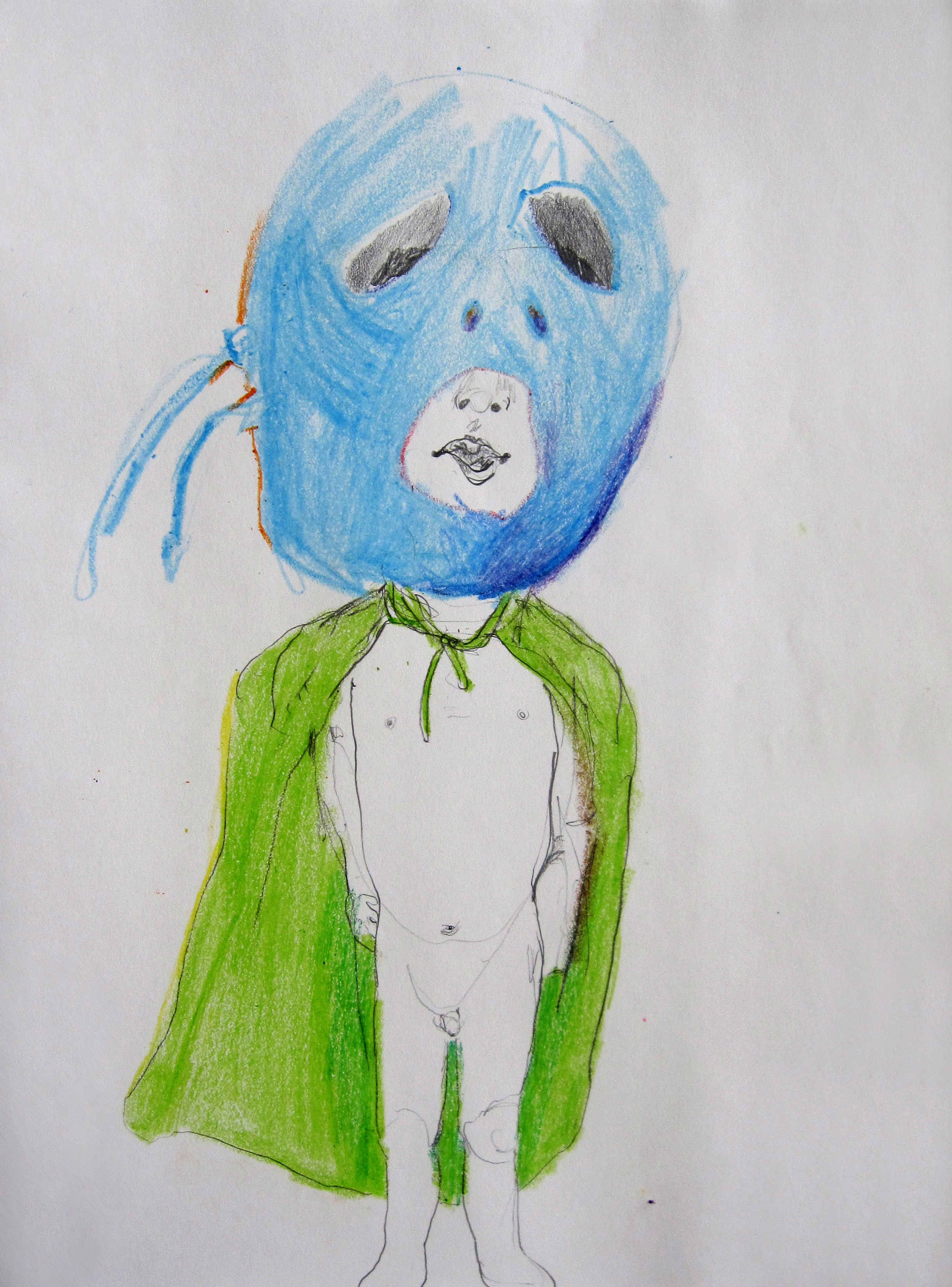 Lucha 2, 2008, Crayon on paper, 14 X11 in.