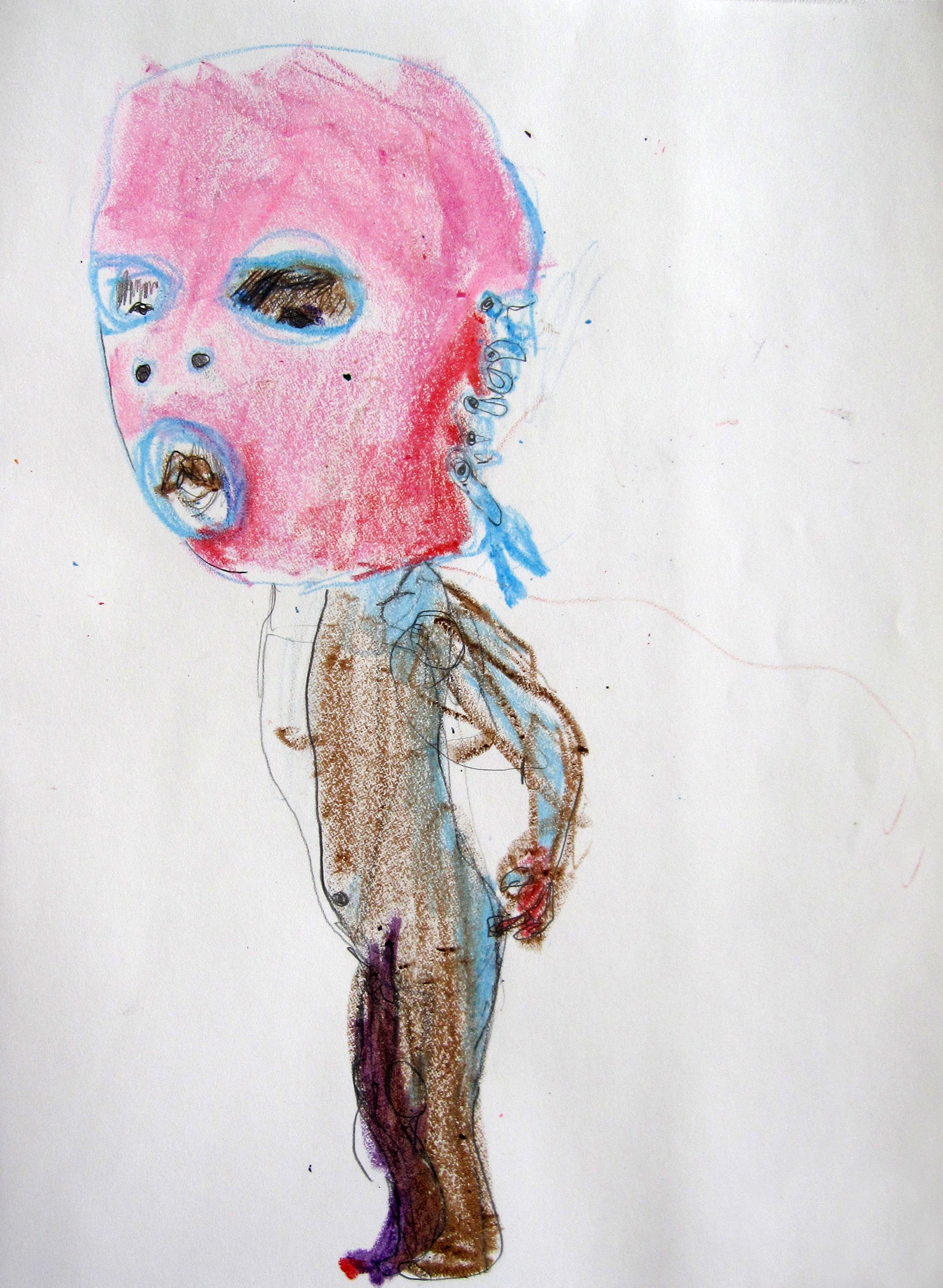 Lucha 1, 2008, Crayon on paper, 14 X11 in.
