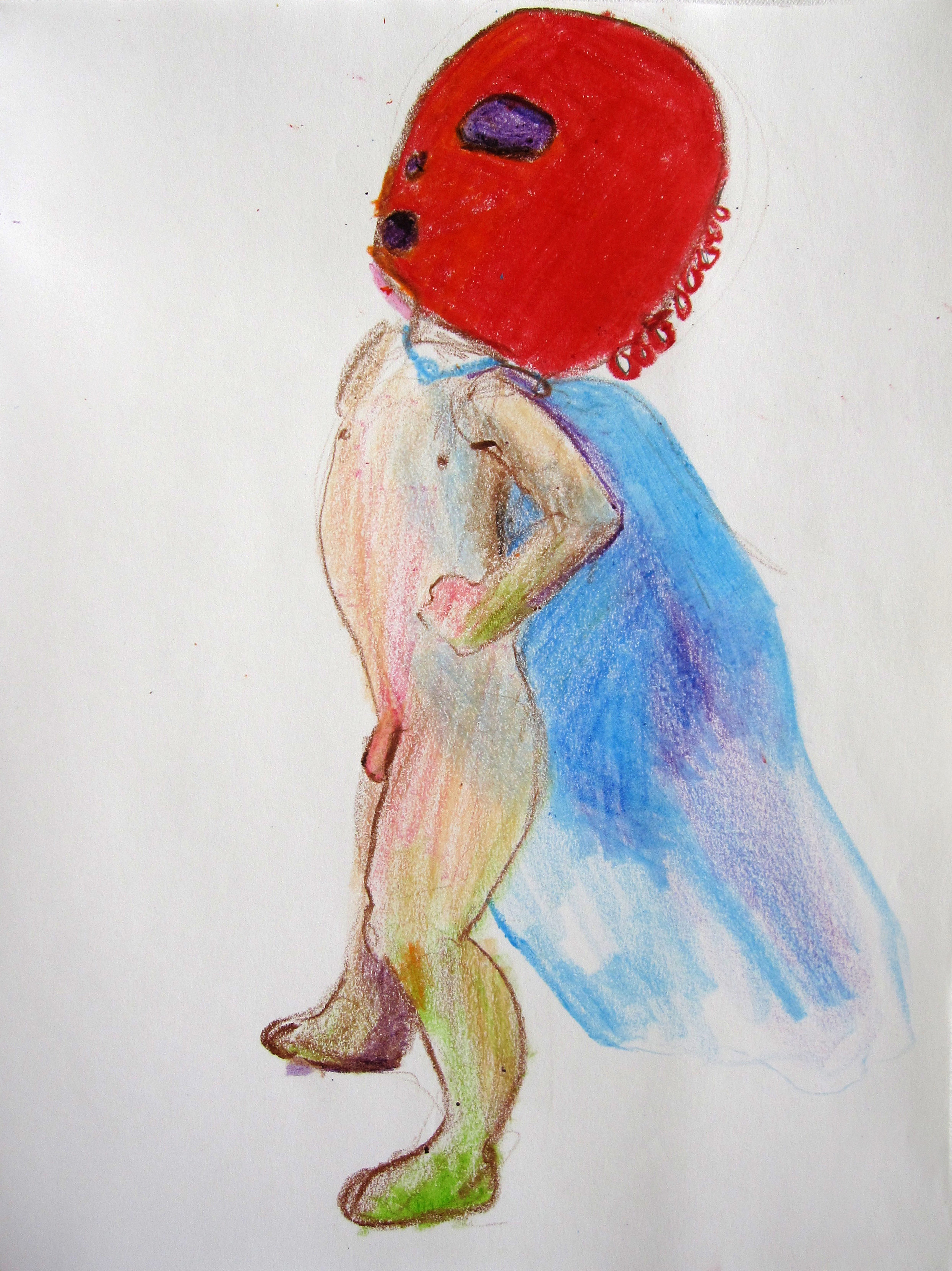 Lucha 3, 2008, Crayon on paper, 14 X11 in.