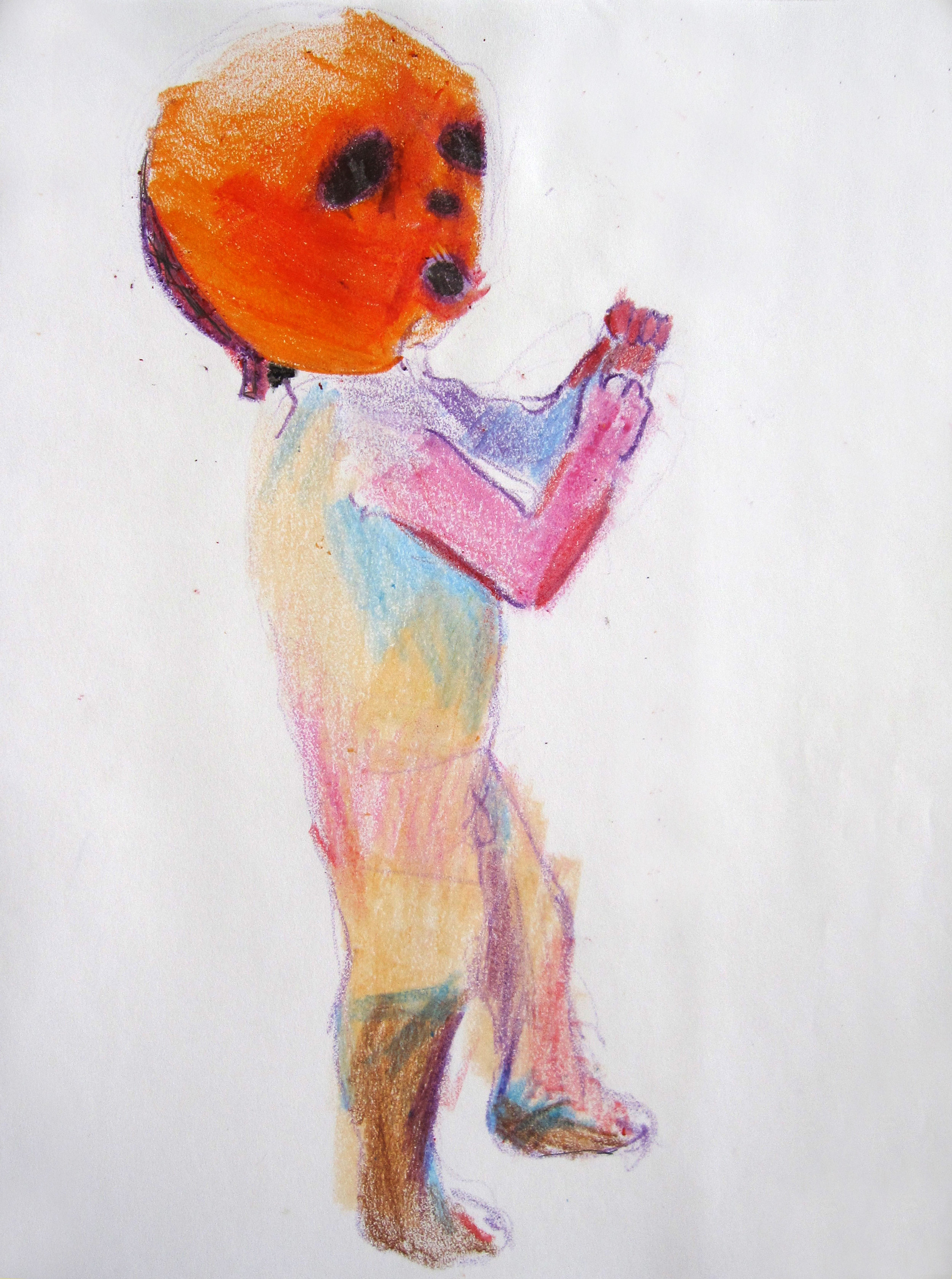 Lucha 4, 2008, Crayon on paper, 14 X11 in.