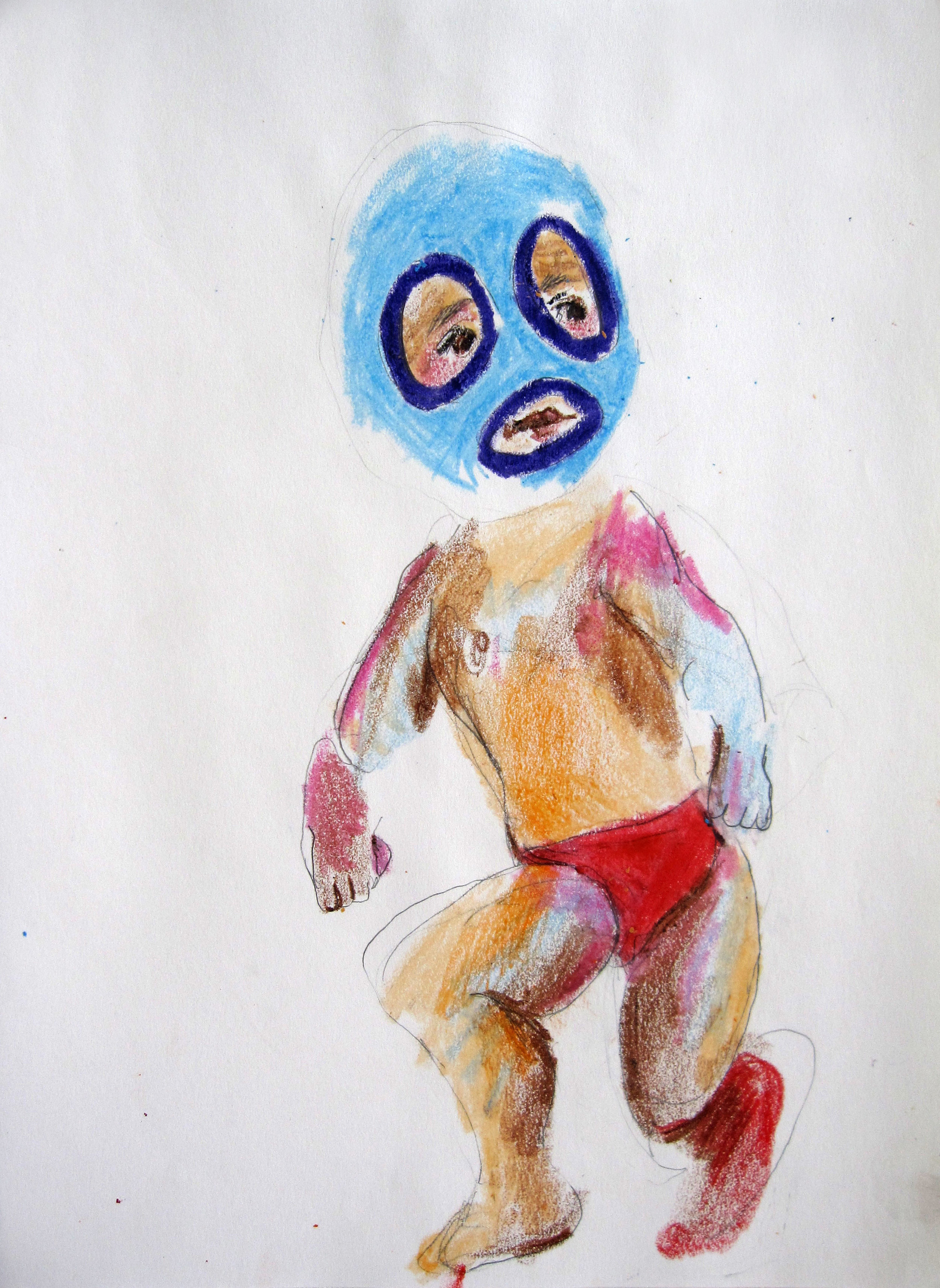 Lucha 6, 2008, Crayon on paper, 14 X11 in.