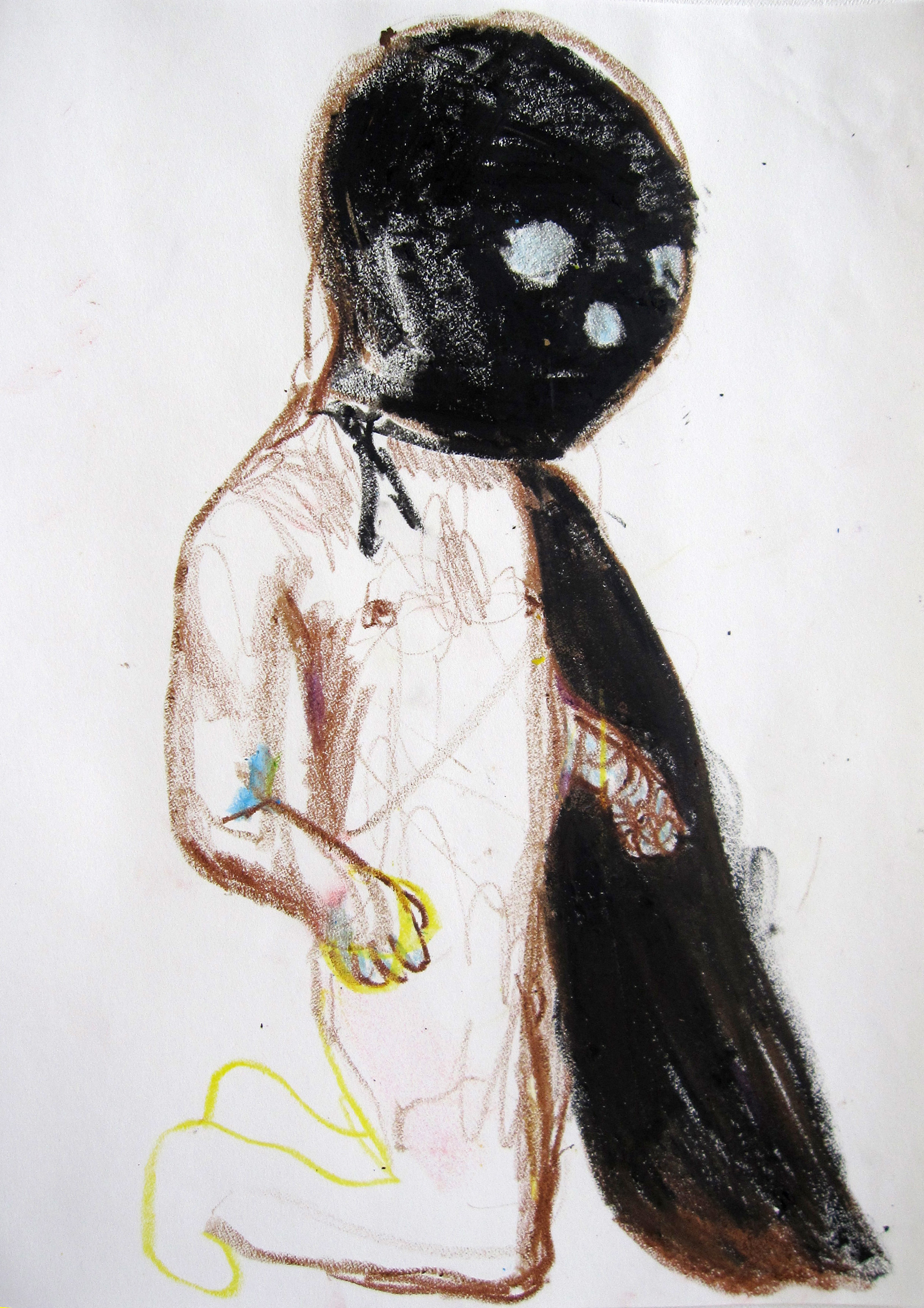 Lucha 7, 2008, Crayon on paper, 14 X11 in.