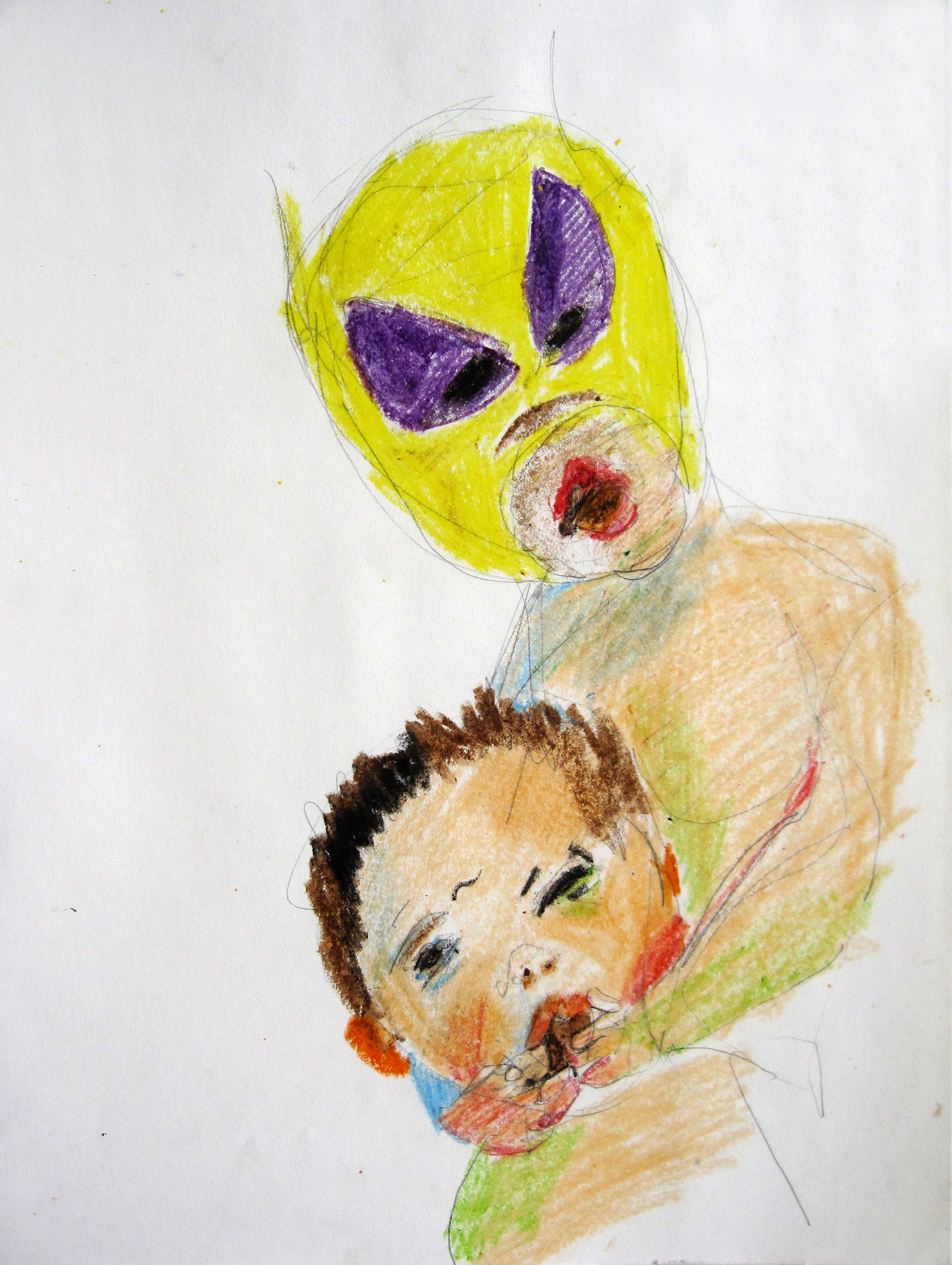 Lucha 8, 2008, Crayon on paper, 14 X11 in.
