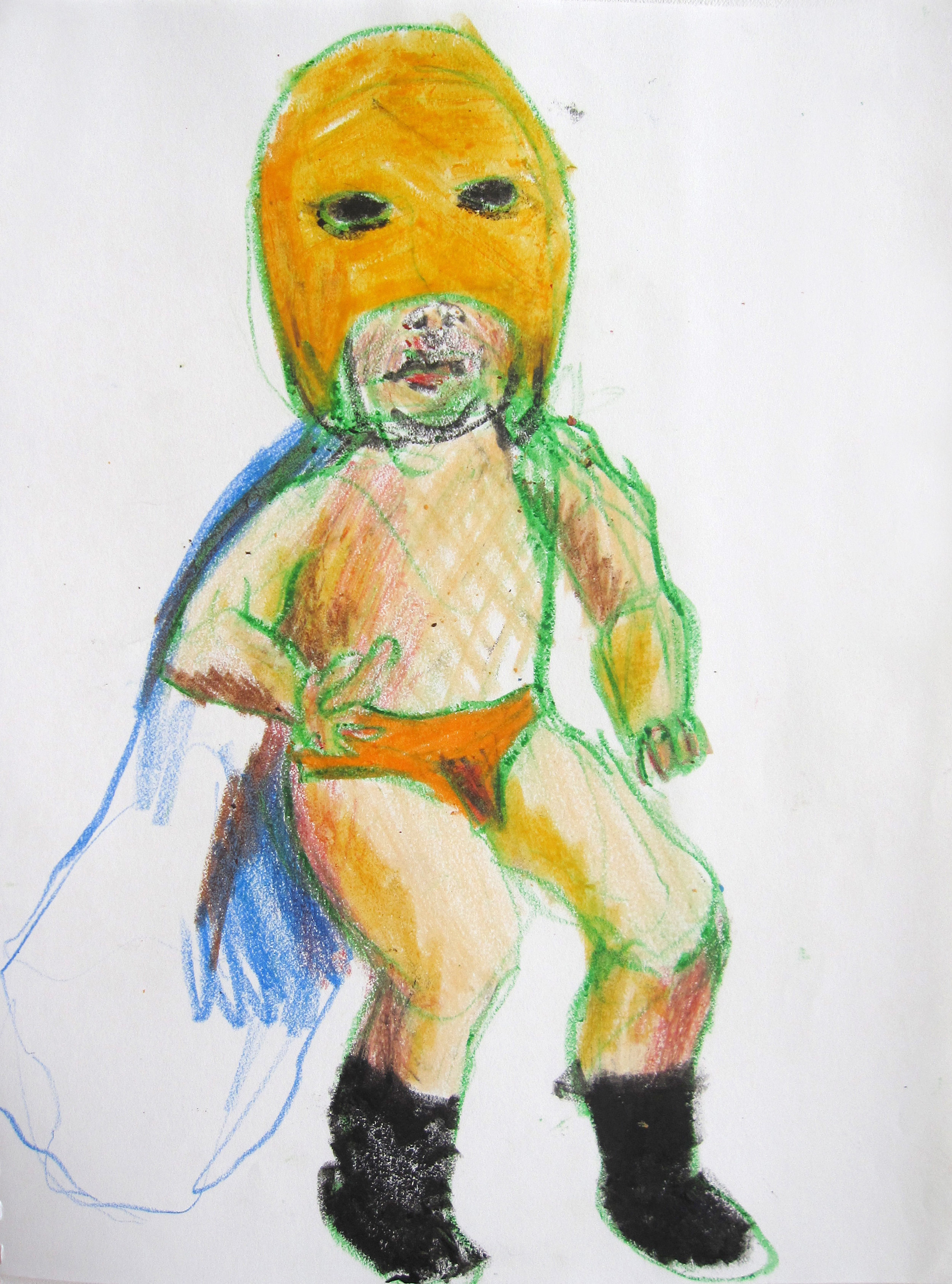 Lucha 11, 2008, Crayon on paper, 14 X11 in.