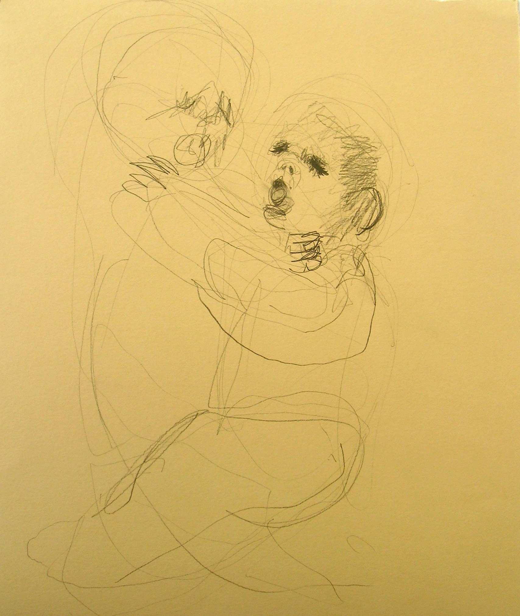 Sentencia (Boy Choking 2), 2007, Graphite and watercolor on paper, 14 X 13 in.