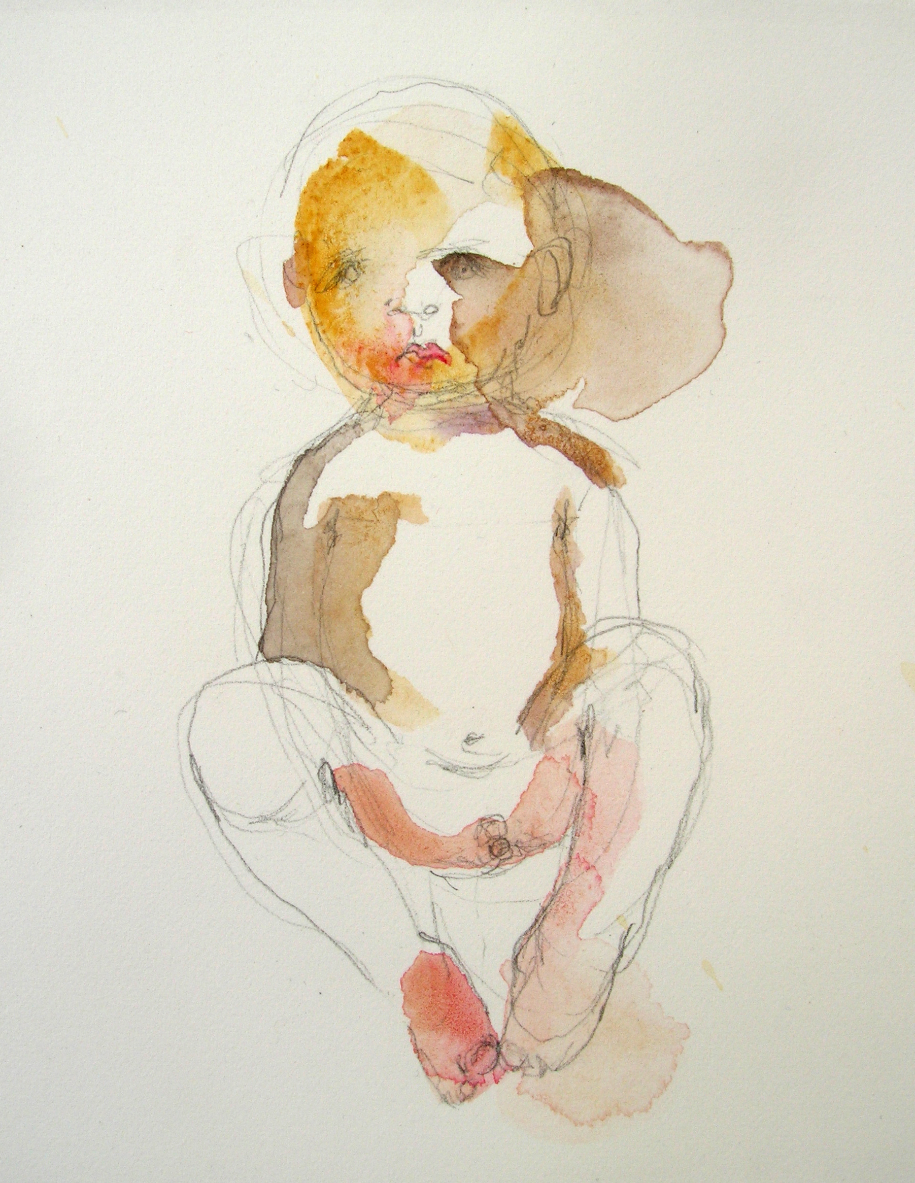 Sentado, 2007, Graphite and watercolor on paper, 3 X 3 in.