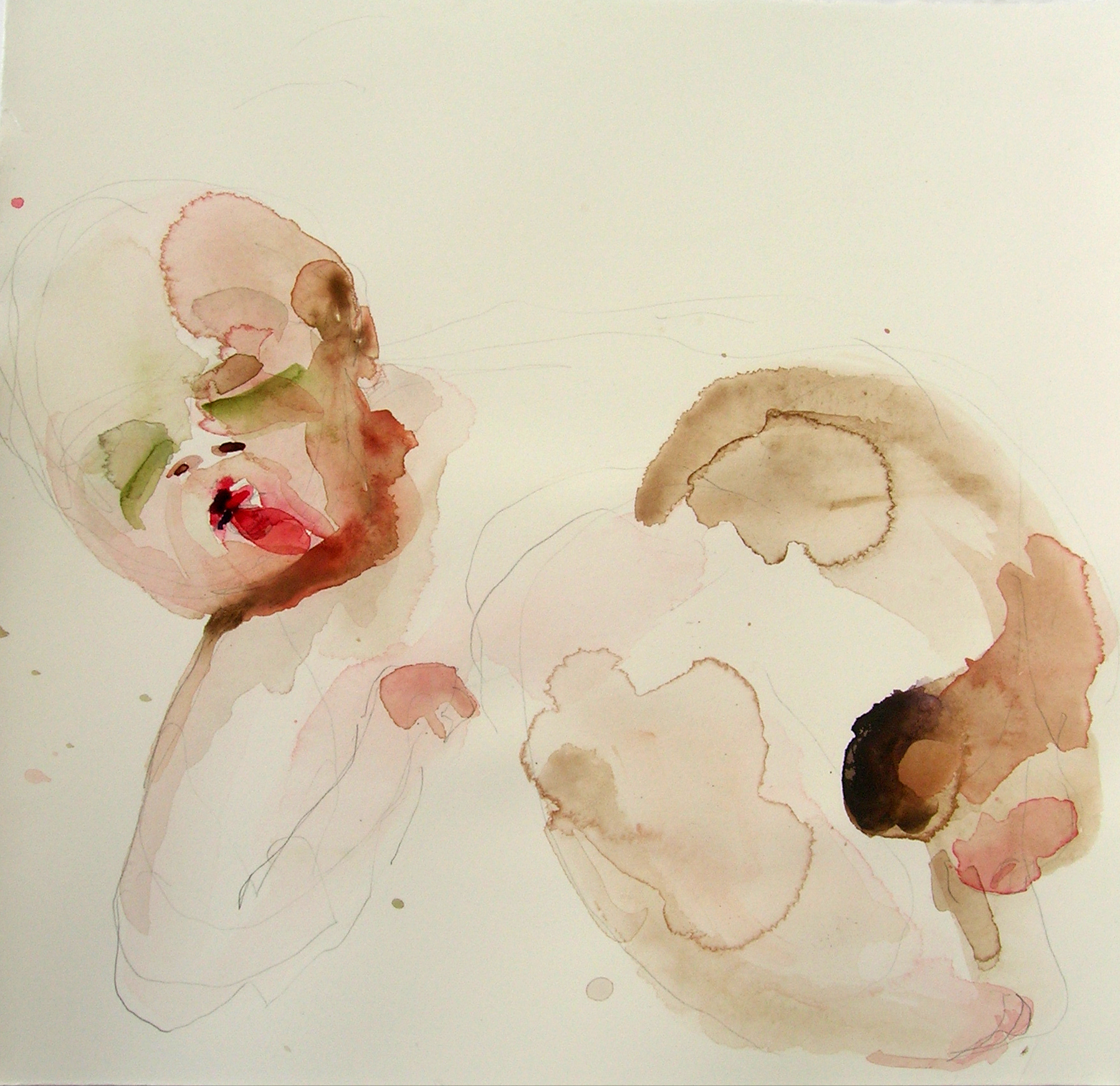 Sentar 14, 2007, Graphite and watercolor on paper, 13 X 12 in.