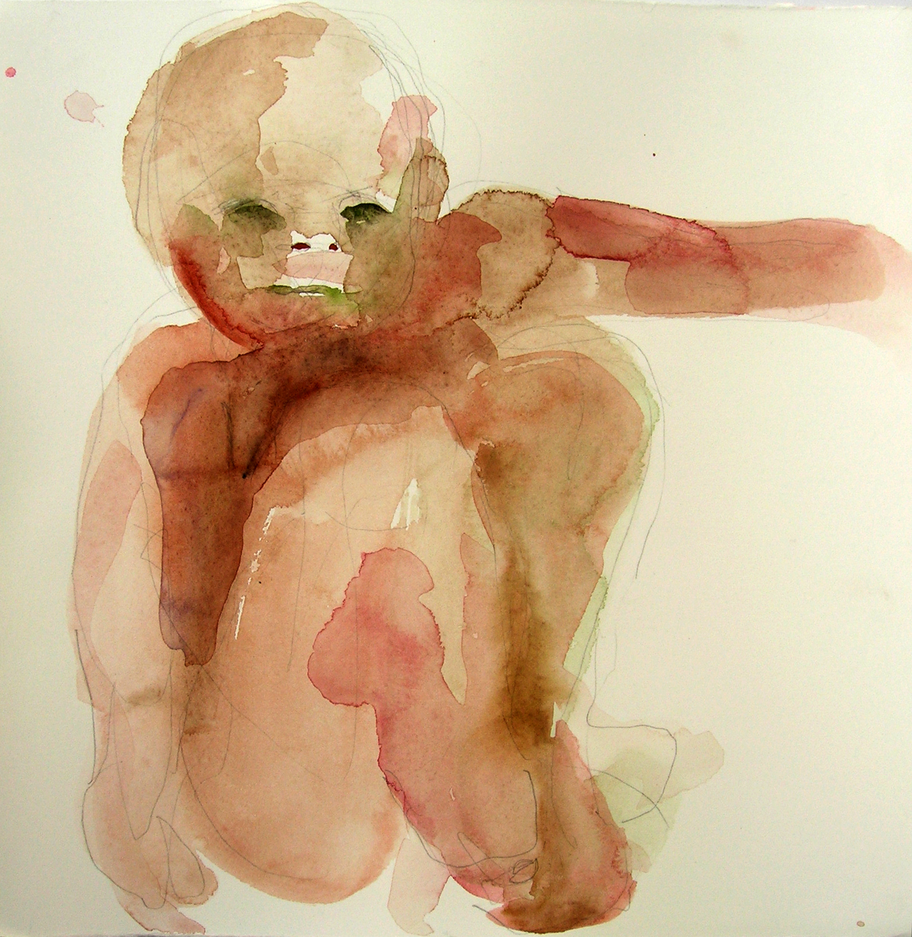 Sentar 19, 2007, Graphite and watercolor on paper, 13 X 12 in.