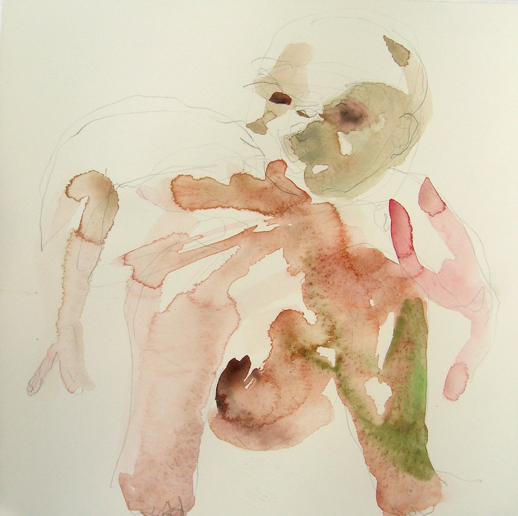 Sentar 24, 2007, Graphite and watercolor on paper, 13 X 12 in.