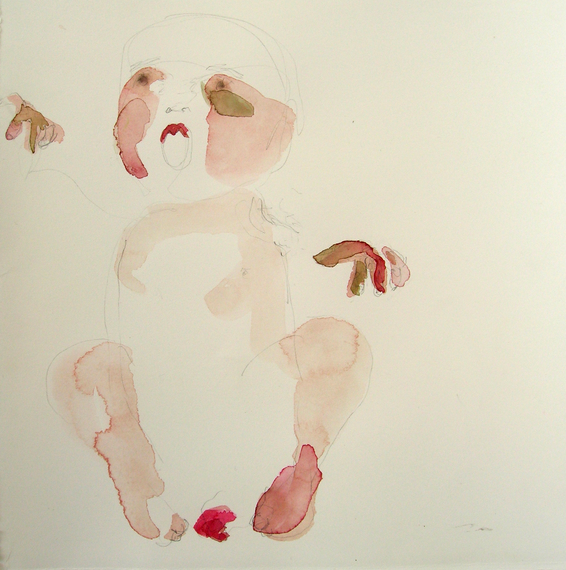 Sentar 29, 2007, Graphite and watercolor on paper, 13 X 12 in.