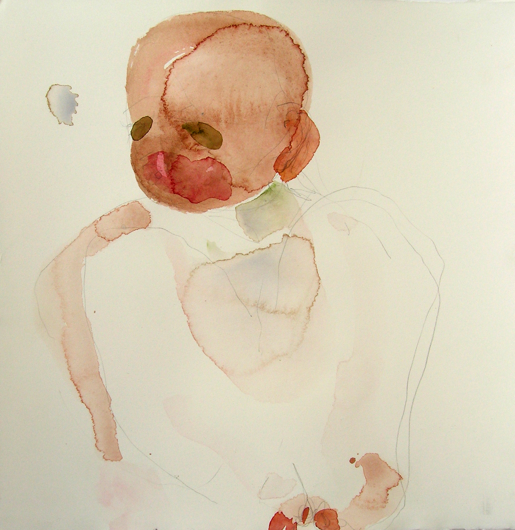 Sentar 18, 2007, Graphite and watercolor on paper, 13 X 12 in.