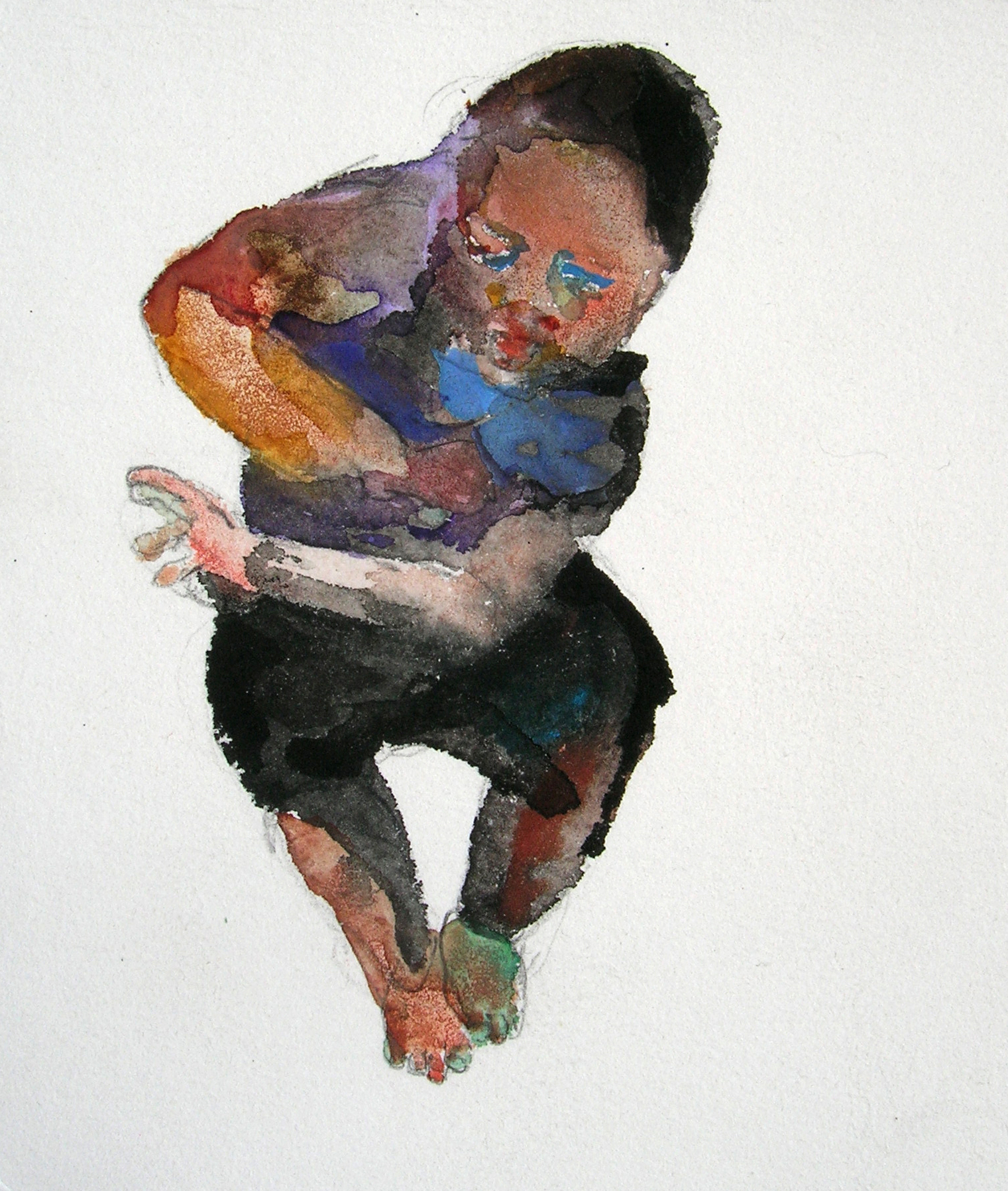 Jumping, 2007, Graphite and watercolor on paper, 4 X 3 in.
