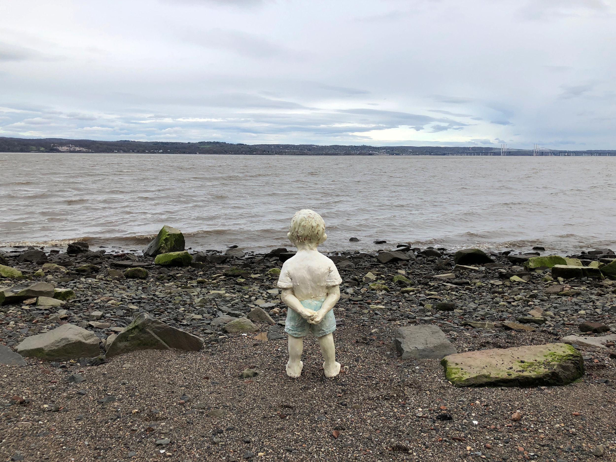 Boy Looking, 2018, Glazed ceramic, 27 x 11 x 10 in.