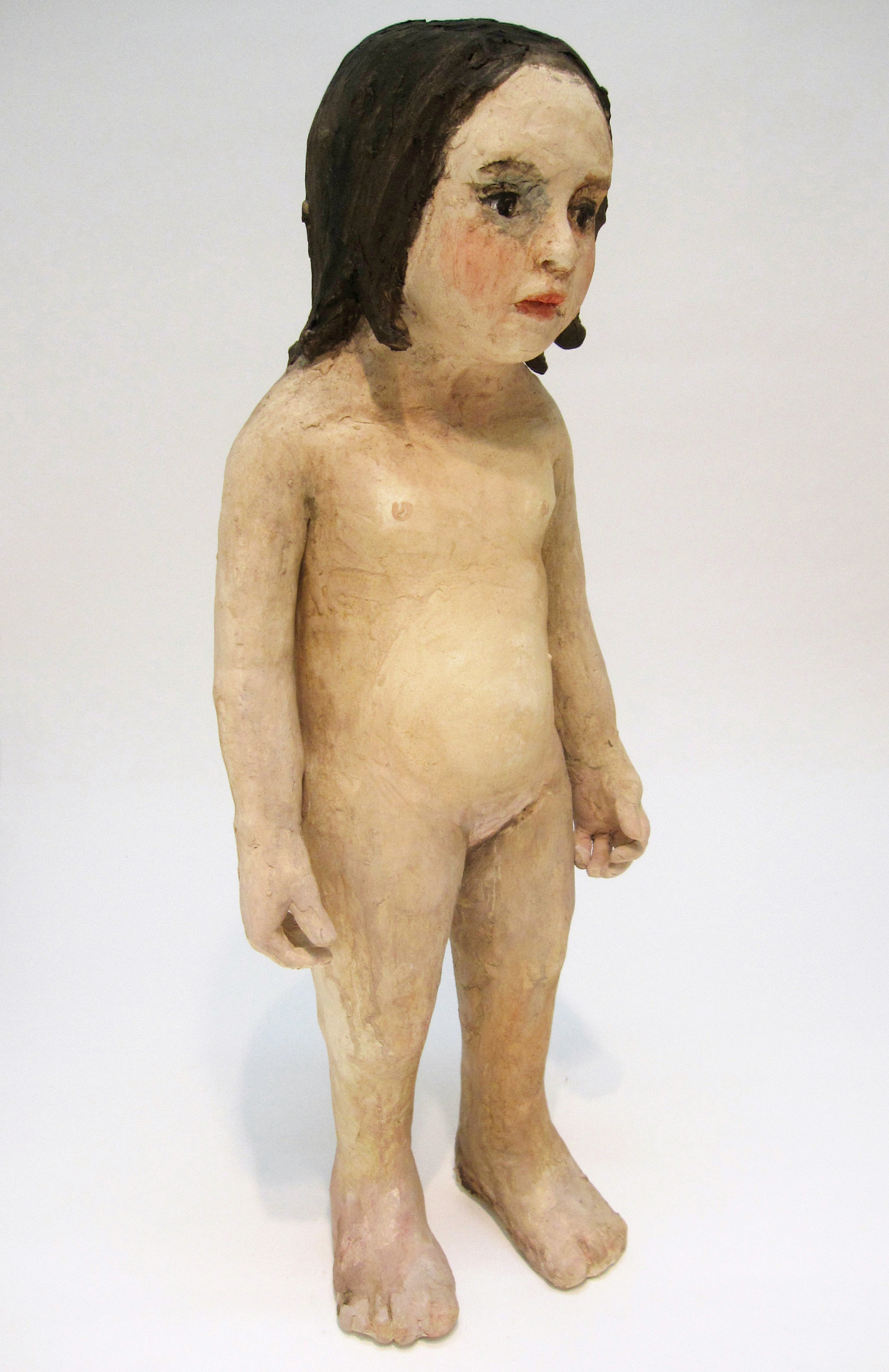 Girl Looking, 2010, Watercolor on ceramic, 29 X 11 X 8 in.