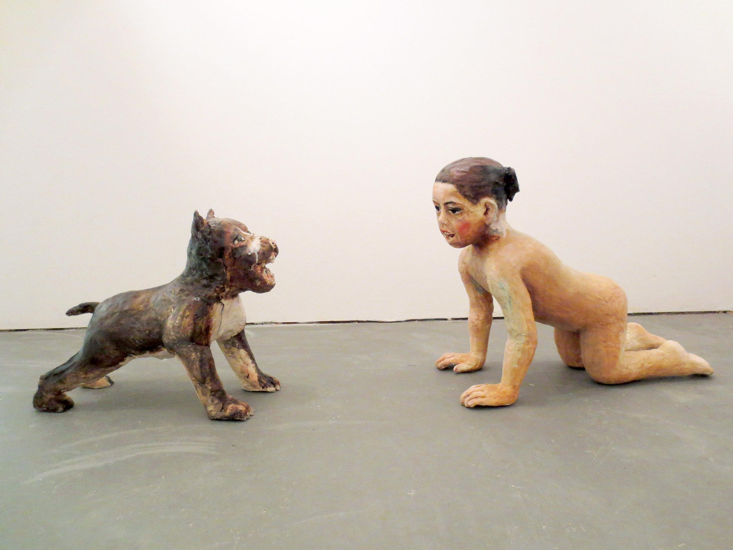 Inocencias Brutalidad, 2013, Glazed ceramic, Dog 17 ½ X 9 ½ X 22 ½ in., Girl, 22 X 14 X 27 in.