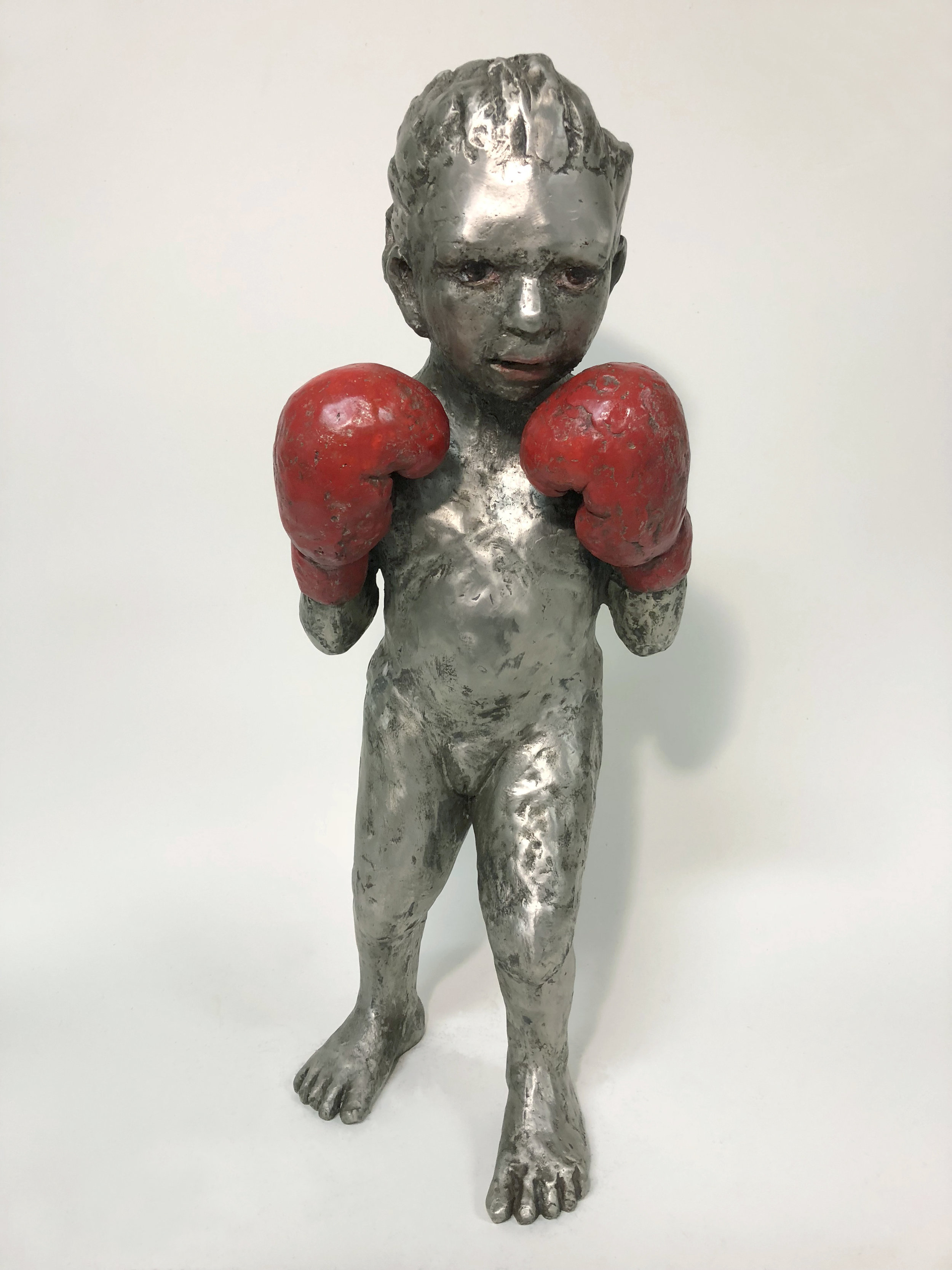 Boxer Girl, 2017, Painted Bronze, 28 x 11 x 12 in.