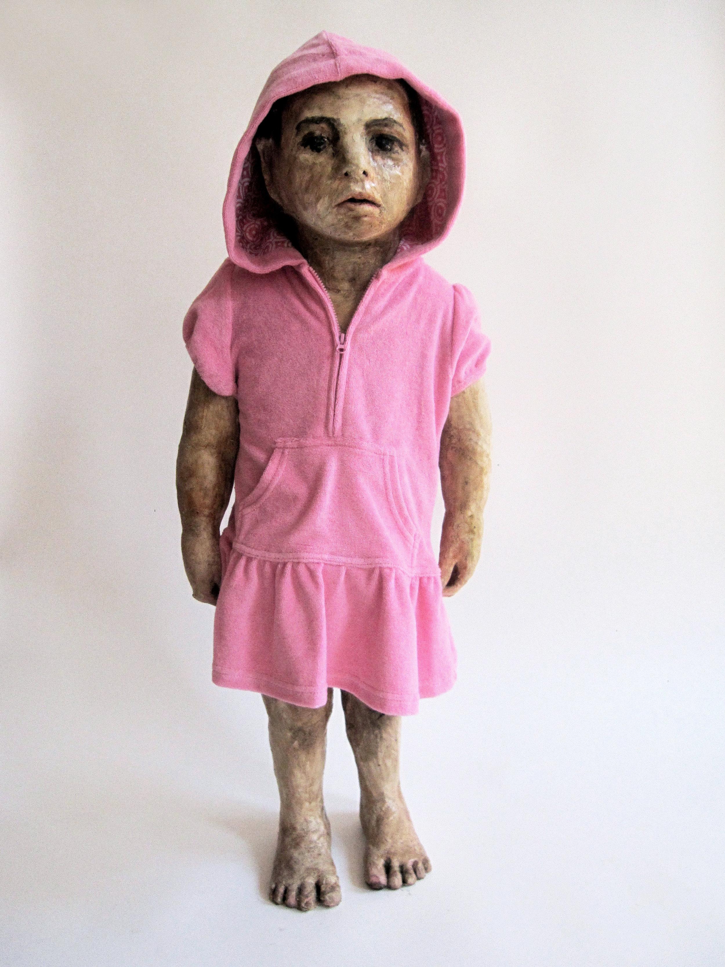 Kid with Hoody, 2012, Fabric on glazed ceramic, 34 1/2 x 15 x 11 in.