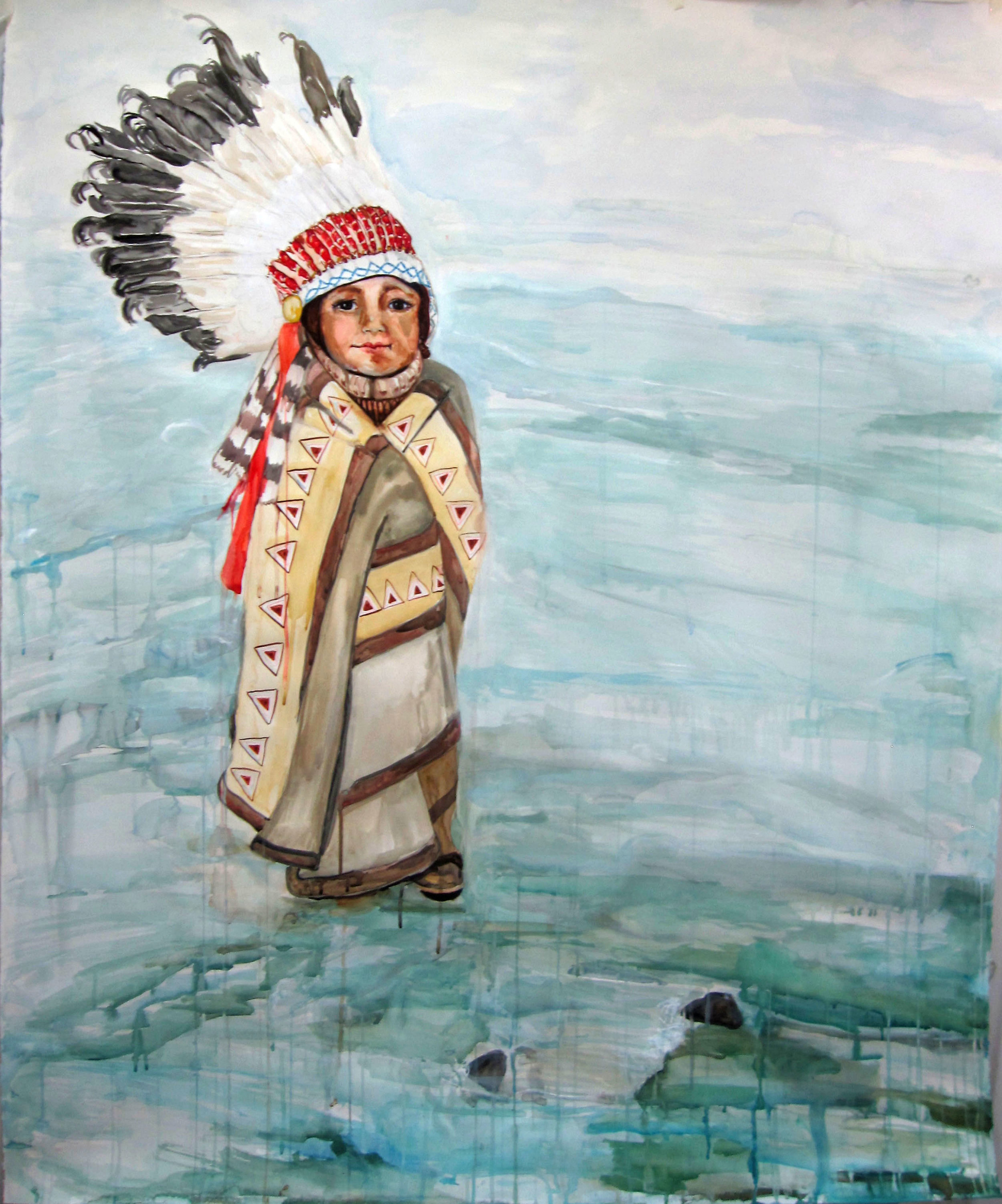 Little Chief, 2011, Watercolor on paper, 60 x 52 in.