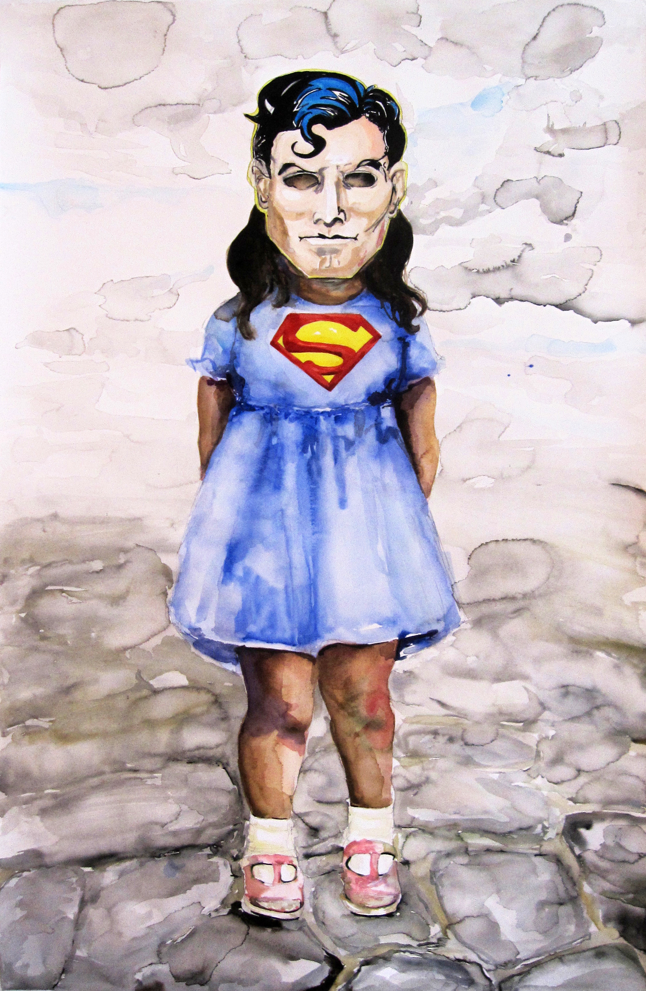 Superman Girl, 2012, Watercolor on paper, 51 3/4 x 32 1/2 in.