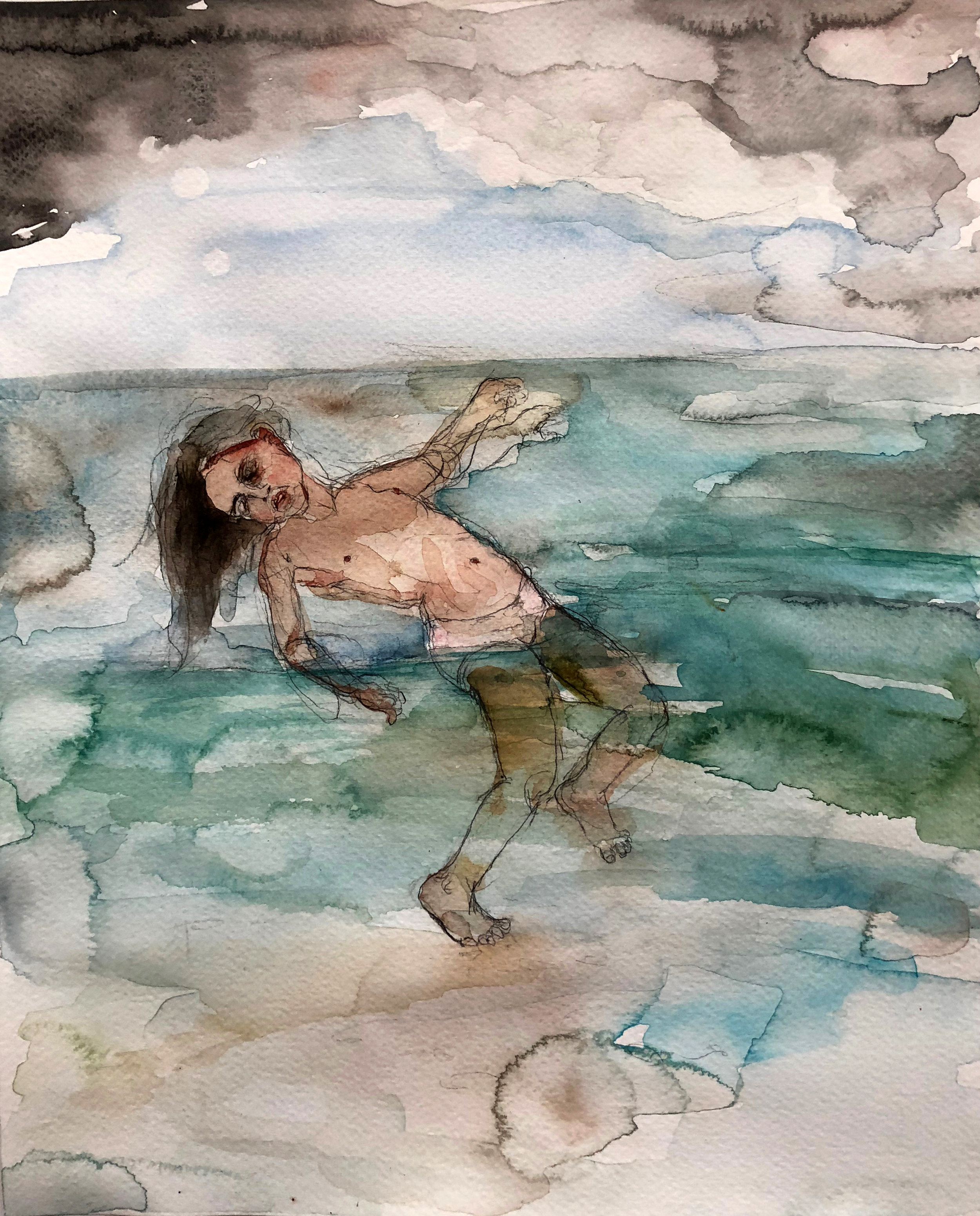 In the Water, 2017,  Graphite and watercolor on paper, 14 x 11 in.