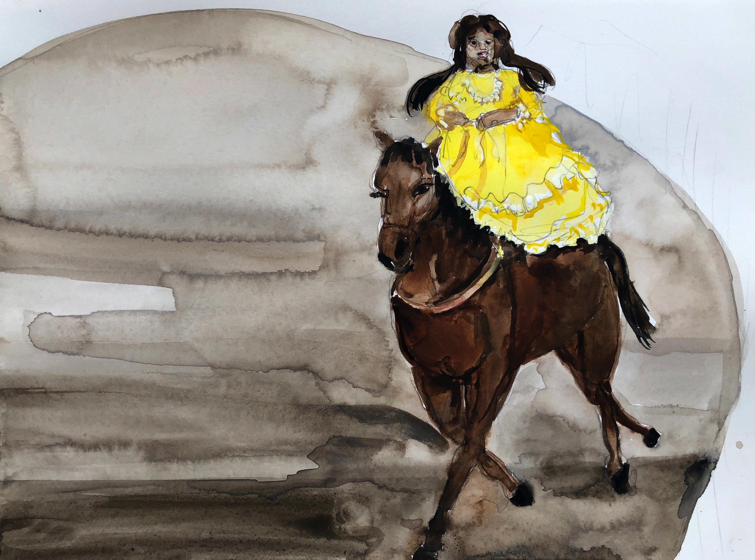 Vestido Amarillo, 2018,  Graphite and watercolor on paper, 9 x 12 in.
