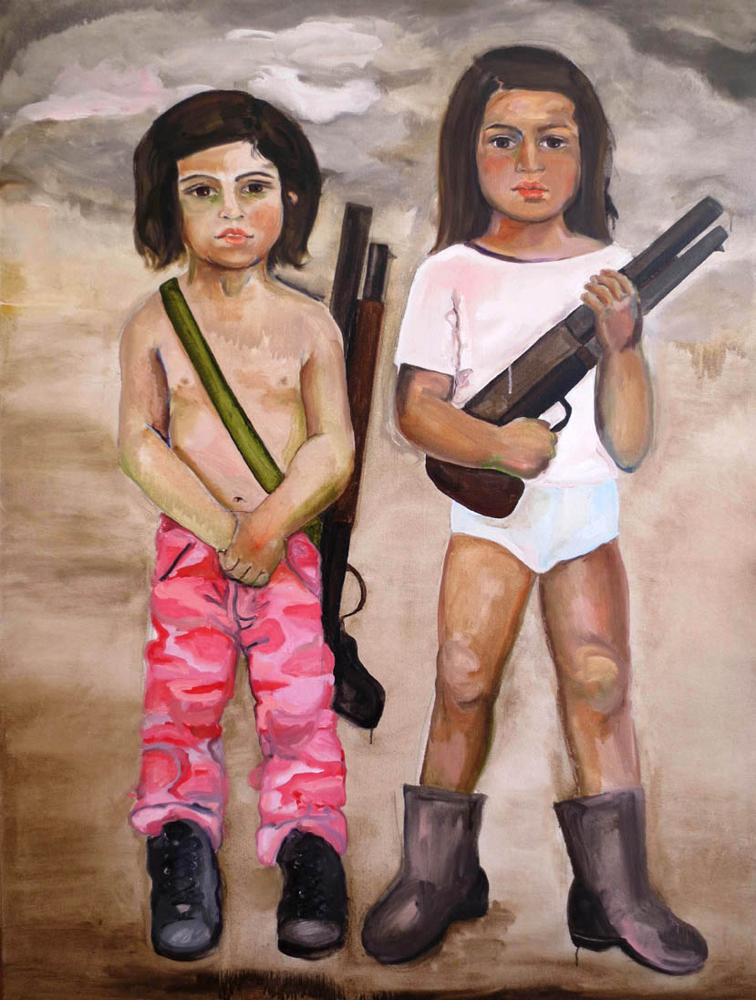 Girls with Guns, 2012, Oil on canvas, 48 x 36 in.