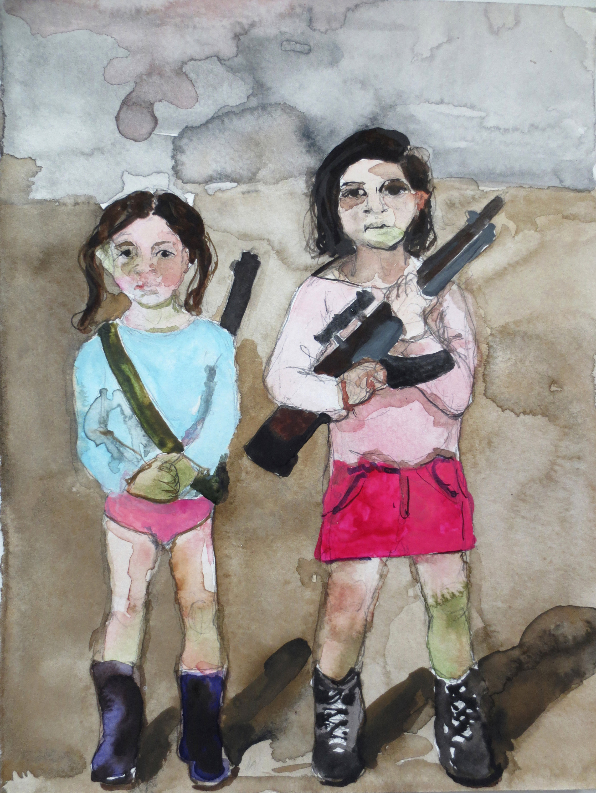 Girls with Guns, 2012, Graphite and watercolor on paper, 12 x 9 in.