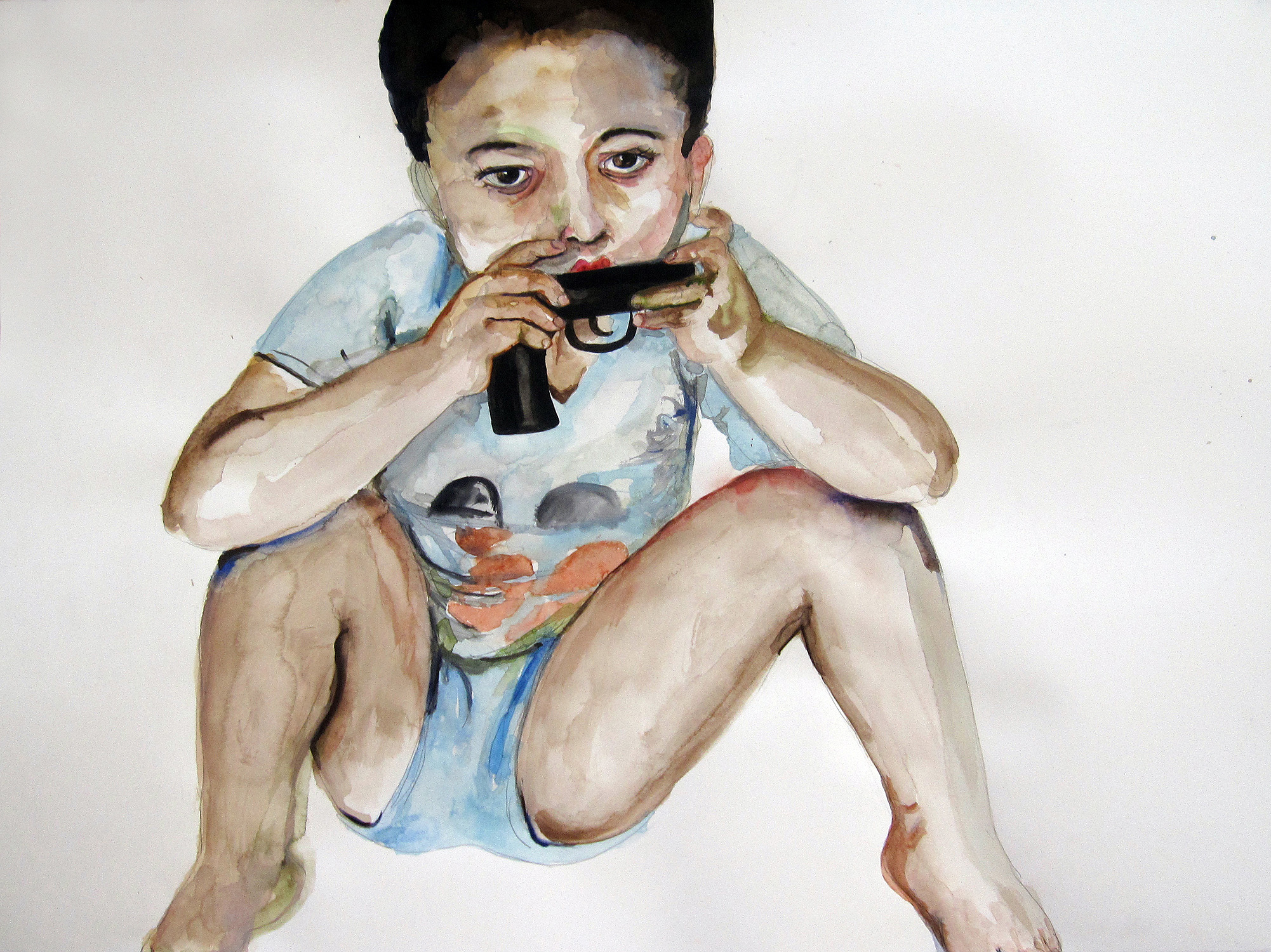 Boy Squatting, 2010, Graphite and watercolor on paper. 22 x 30 in.