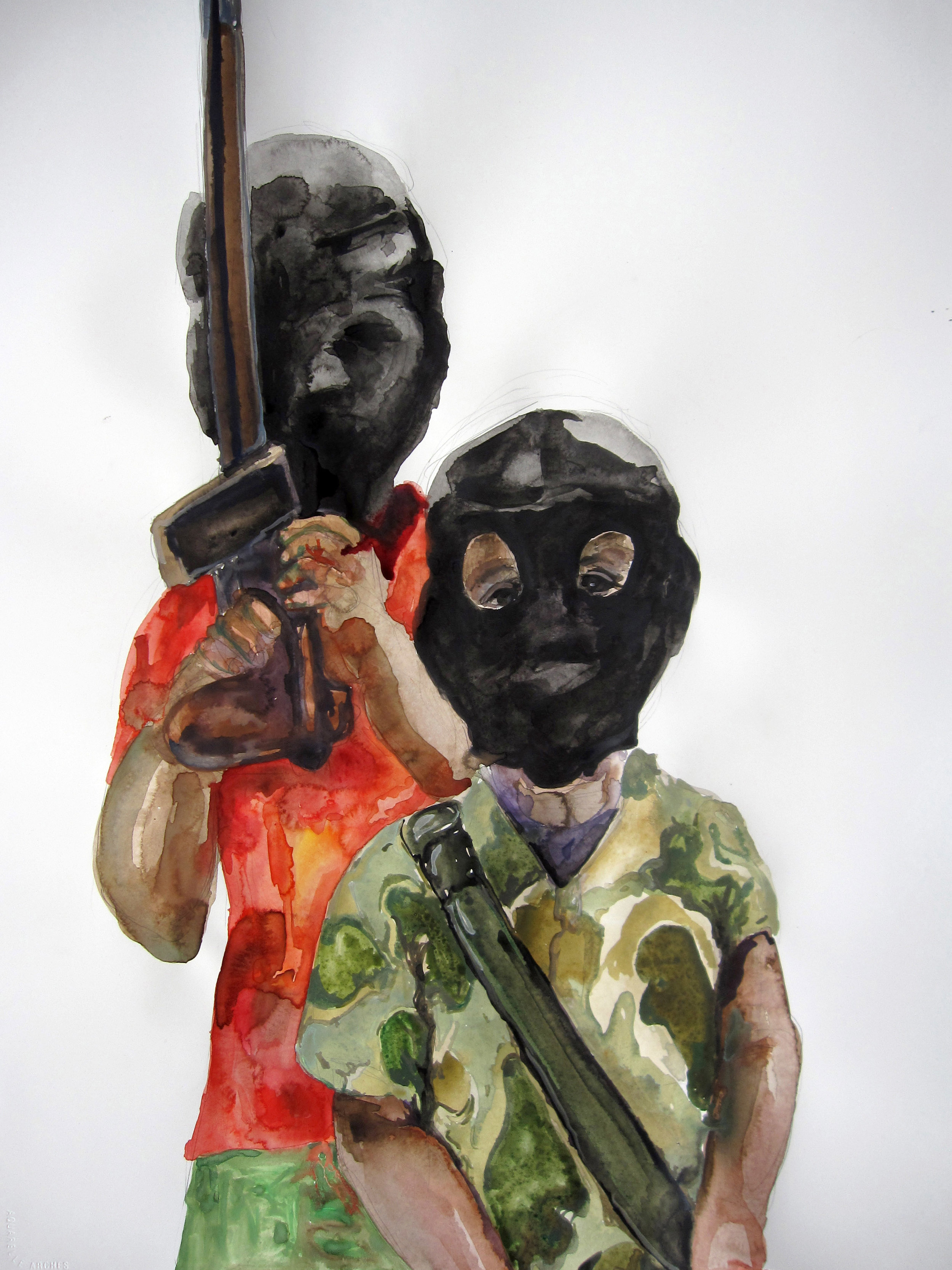 Boys Playing with Guns, 2010, Graphite and watercolor on paper. 30 x 22 in.