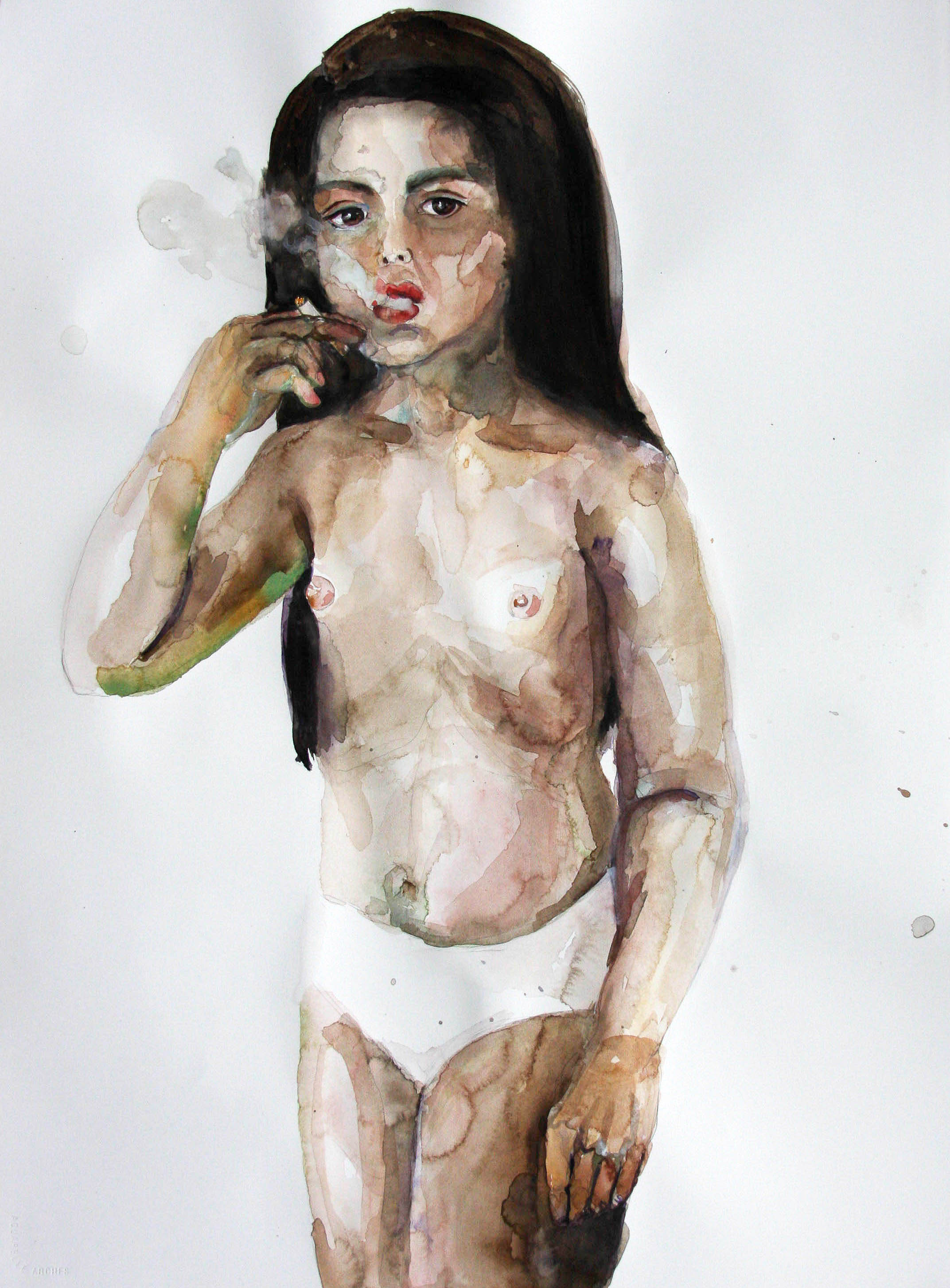 Fumando 4, 2010, Graphite and watercolor on paper, 30 x 22 in.
