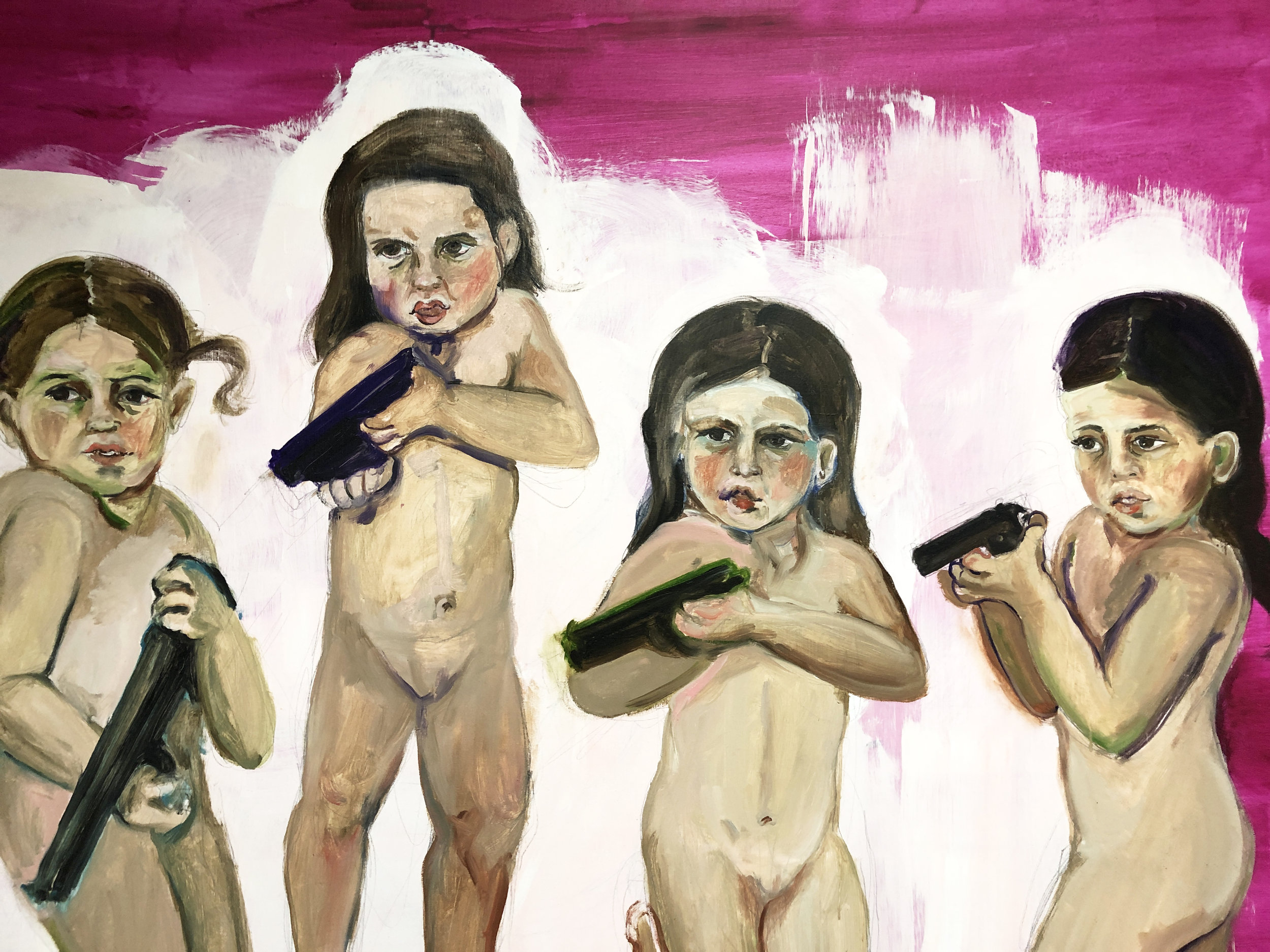 Chicas Pistoleras (detail), 2012, Oil on canvas, 65 x 70 in.