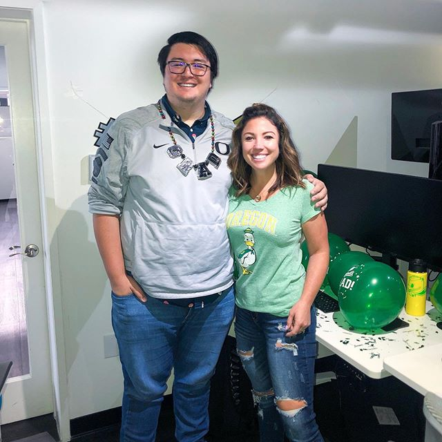 Congratulations to Justin one of our talented back end engineers for graduating from @uoregon !! The team showed up in their Ducks gear to give him a proper #wintheday welcome back! #protechtwhatmatters #bestplacetowork