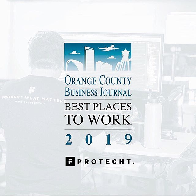 """In my first week with this company @bryan.derbyshire , @beau_j23 , and I sat down and set out measures and awards we wanted to achieve and win over the coming 3 years. Today is another exciting day as we just accomplished one of our 2019 goals! Protecht is officially one of the best places to work in Orange County! At that time we had 13 employees, today we are north of 40 and I can honestly say it's only gotten better. The people that come to work here and in our remote offices consistently amaze me and truly make our company better with their involvement. Thank you for making this happen."" - @caseycallinsky"