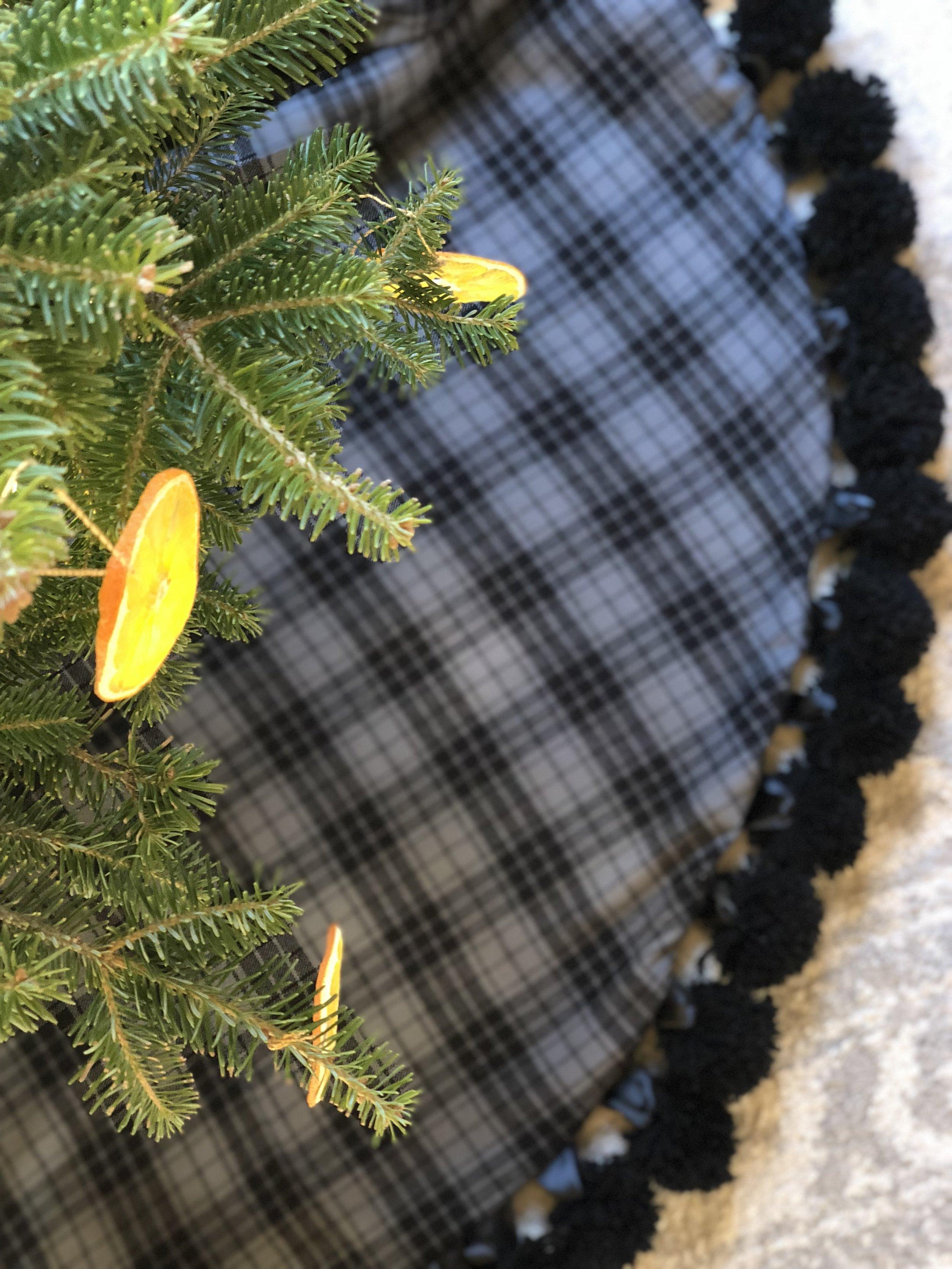 grey plaid flannel Christmas tree skirt