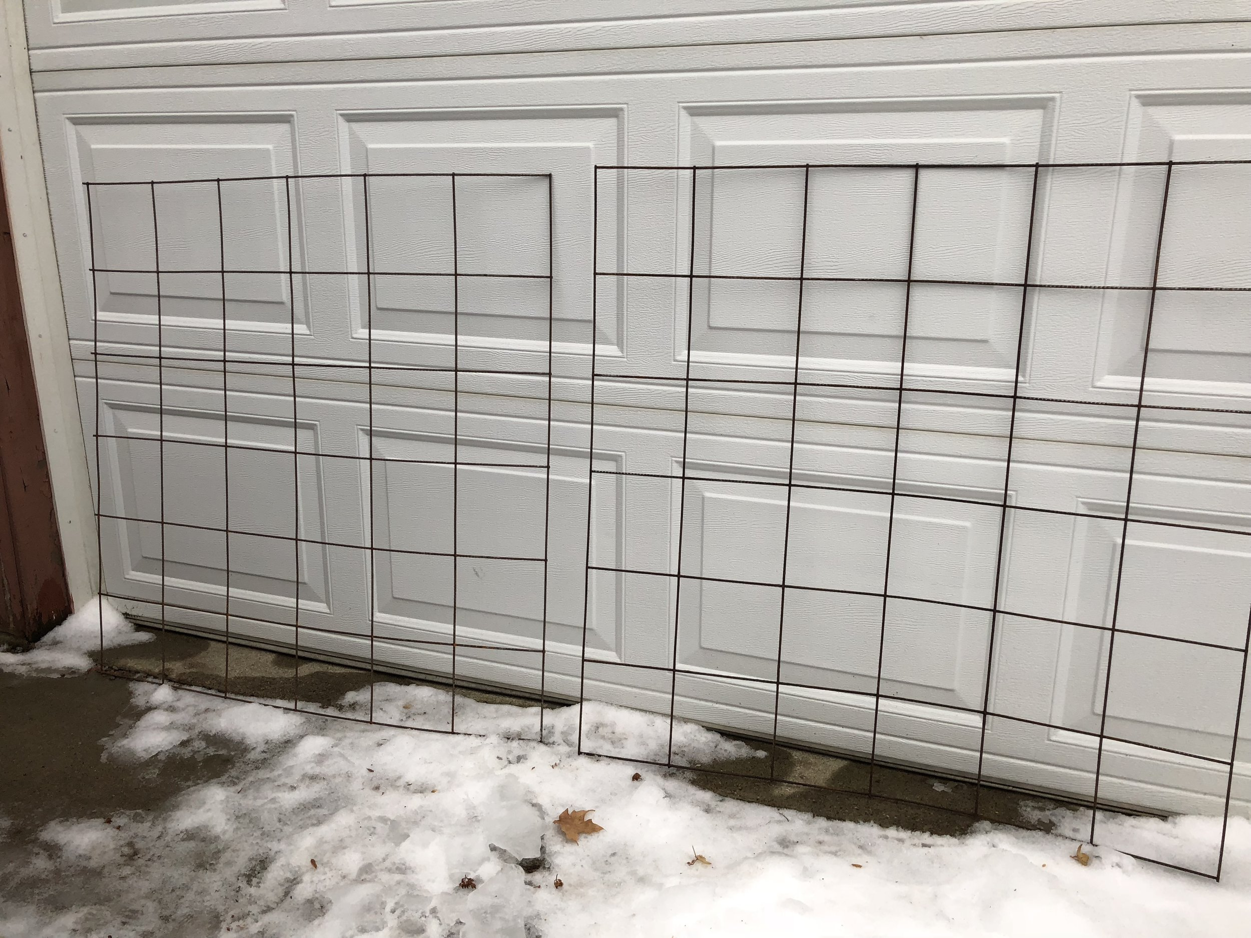 This is what my two pieces of wire mesh looked like after I cut them down.