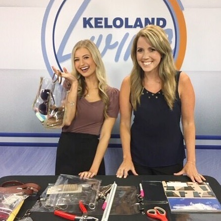 Great day on @kelolandliving demonstrating how to make a (ridiculously easy) clear vinyl bag! Leave me a comment if you want me to DM you a direct link to the segment! . . . . #transparentbag #transparentbags #stadiumbag #nflbagpolicy #festivalfashion #concertstyle #diybag #crossbodybag