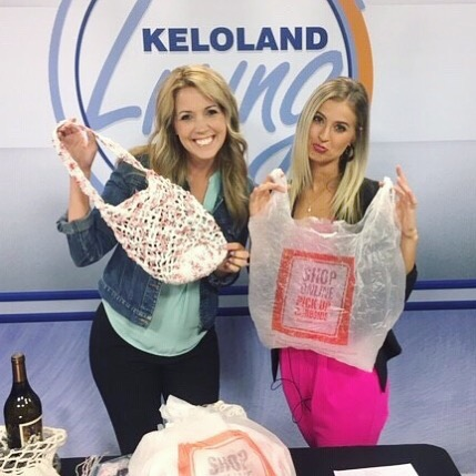 "Brittany was sad thinking about the billions of plastic grocery bags that aren't biodegradable. But I was happy because I was about to show her how to turn single-use bags into reusable bags...by turning them into plarn! You can watch the entire @kelolandliving segment by going to my channel (link in profile!) and checking out my ""Collaborations and Media"" playlist. . . . #plarn #plarnbag #reusablebags #marketbag #crochetbag #plarncrochet #upcycle #upcycledfashion #diytutorial #makersgottamake"