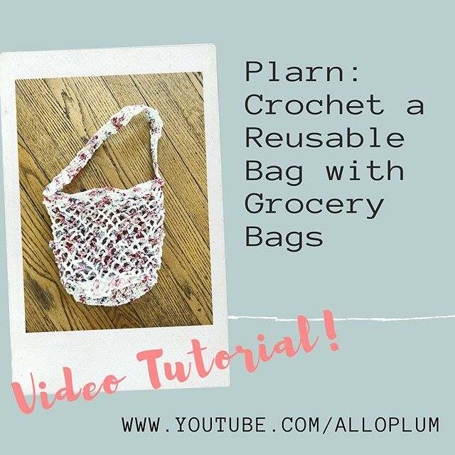 Do you want to learn how to upcycle your plastic grocery bags into a reusable crocheted marker bag? I have just the tutorial for that- and it's finally up on my channel (link in profile!) . . . #plarn #plarnbag #crochet #crochetbag #upcycle #upcyclebag #savetheplanet #crochetersofinstagram #netbag #marketbag #plasticyarn