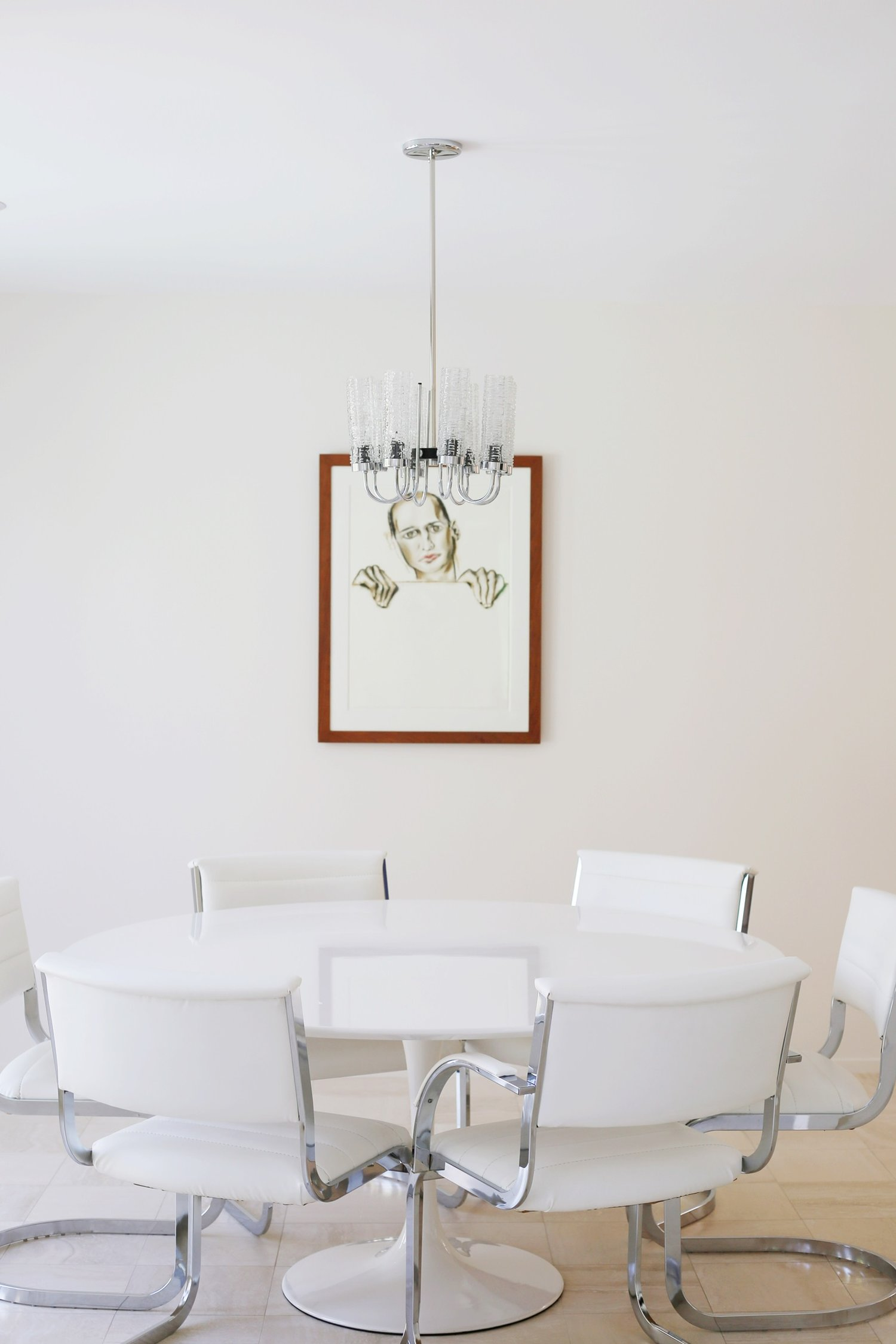 Knoll Tulip Table with painting by Francesco Clemente by 1995, pastel on paper.