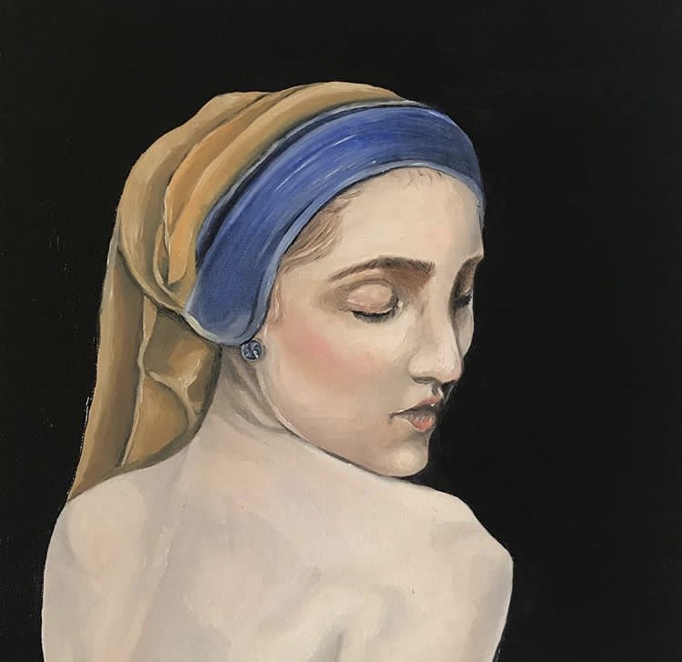 Jeune fille à la perle - Huile sur papier, 30 x 30 cm, Toulouse, 2018.