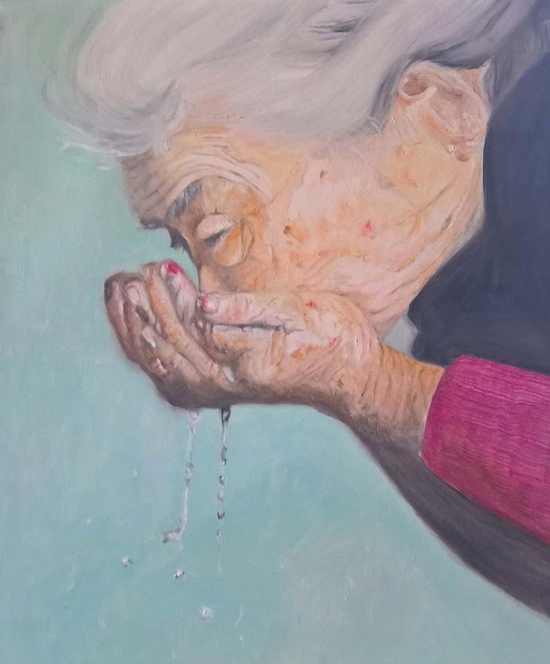 L'eau - Huile sur toile, 55 x 46 cm, Toulouse, 2017