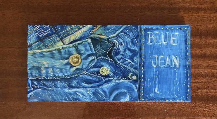 Blue jean, huile sur bois, trompe-l'oeil