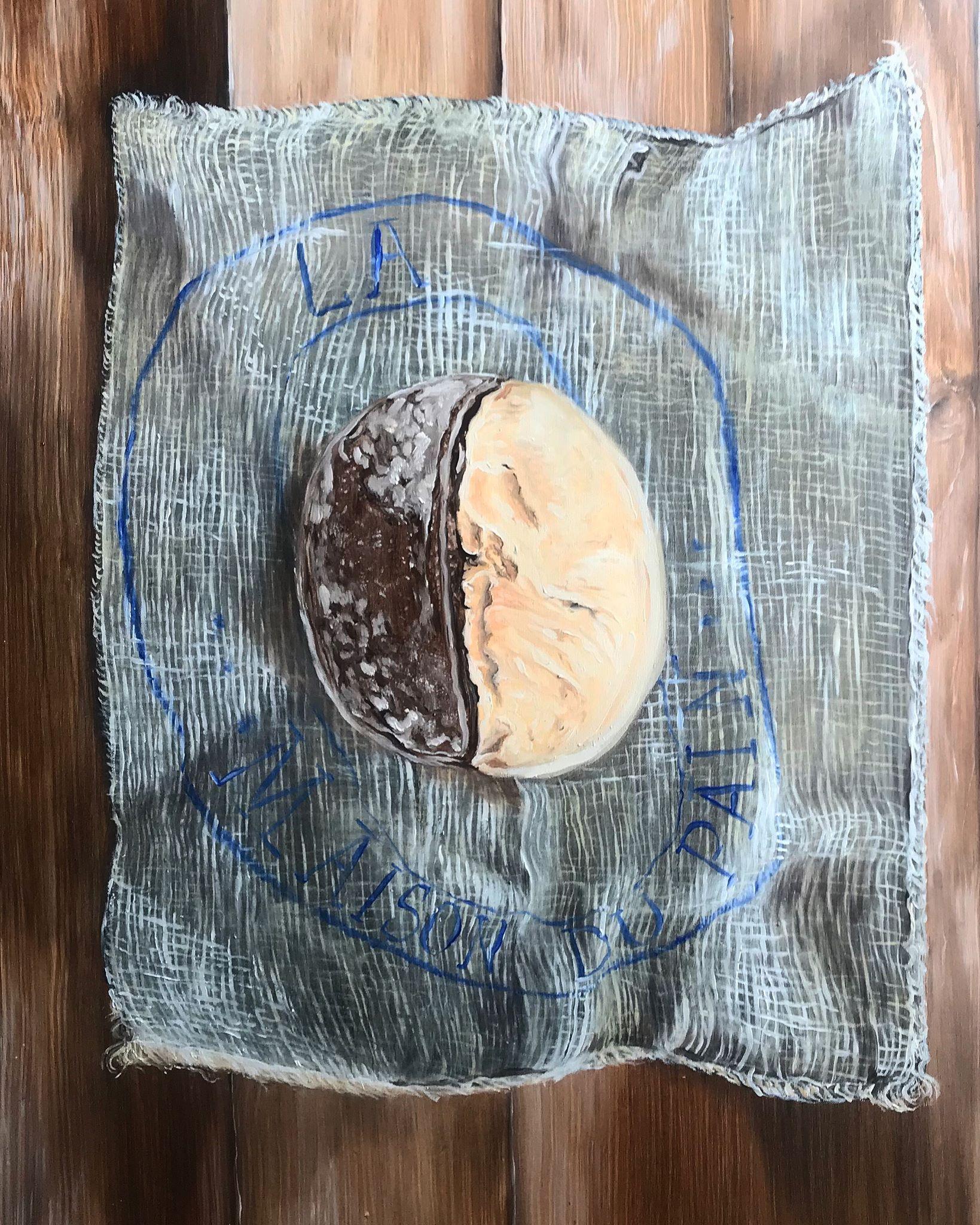 La maison du pain - Huile sur papier, trompe-l'oeil, 50 x 65 cm, Toulouse, 2018