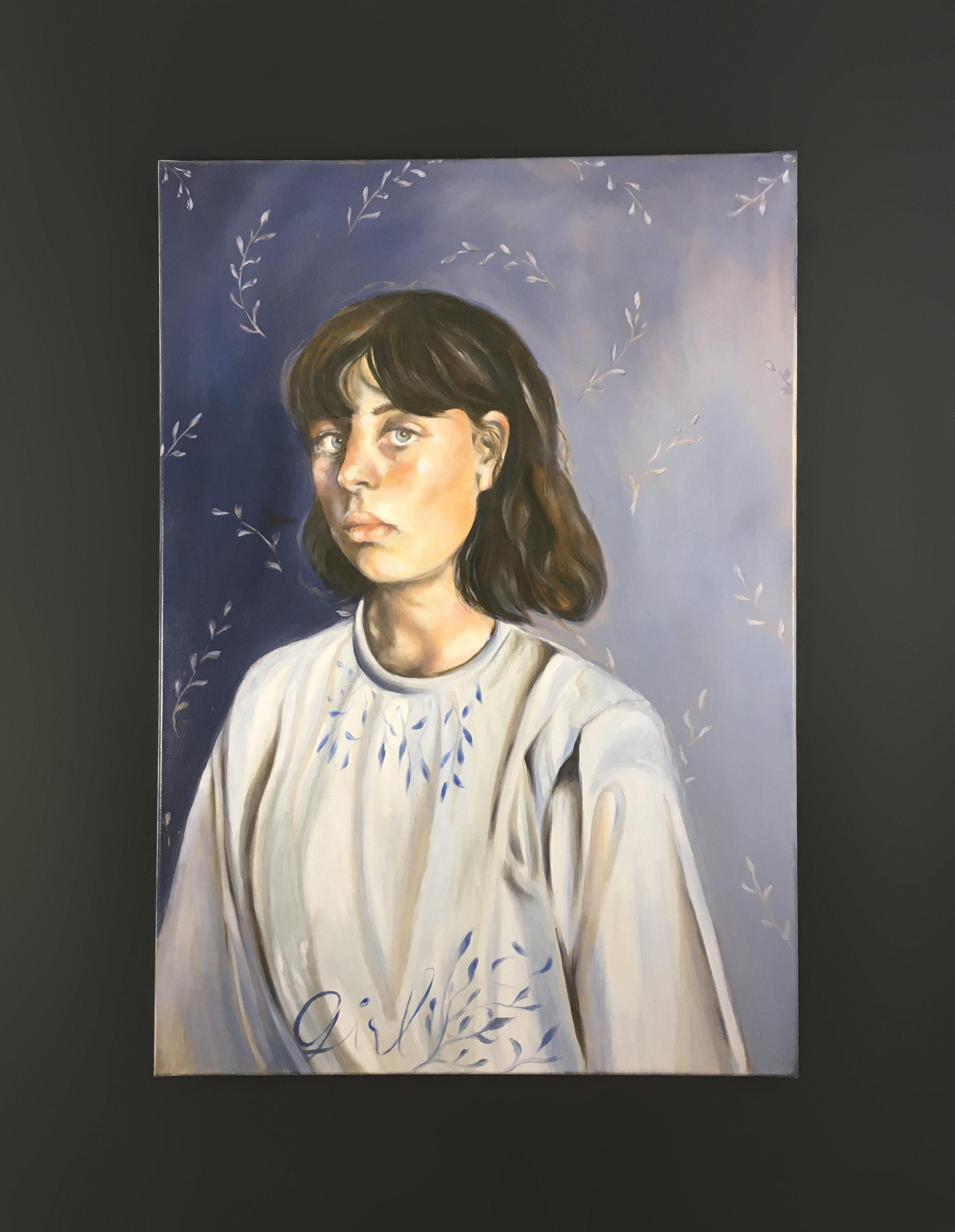 """Petite Fille - Huile sur toile, 116 x 81 cm, Toulouse, 2019Série """"Poétiques Peintures"""""""